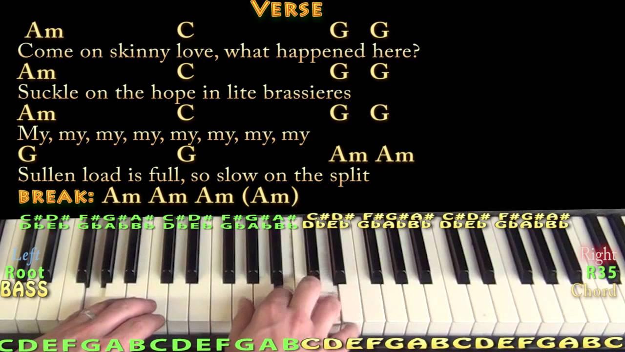 Skinny Love Chords Skinny Love Bon Ivers Piano Cover Lesson With Chordslyrics