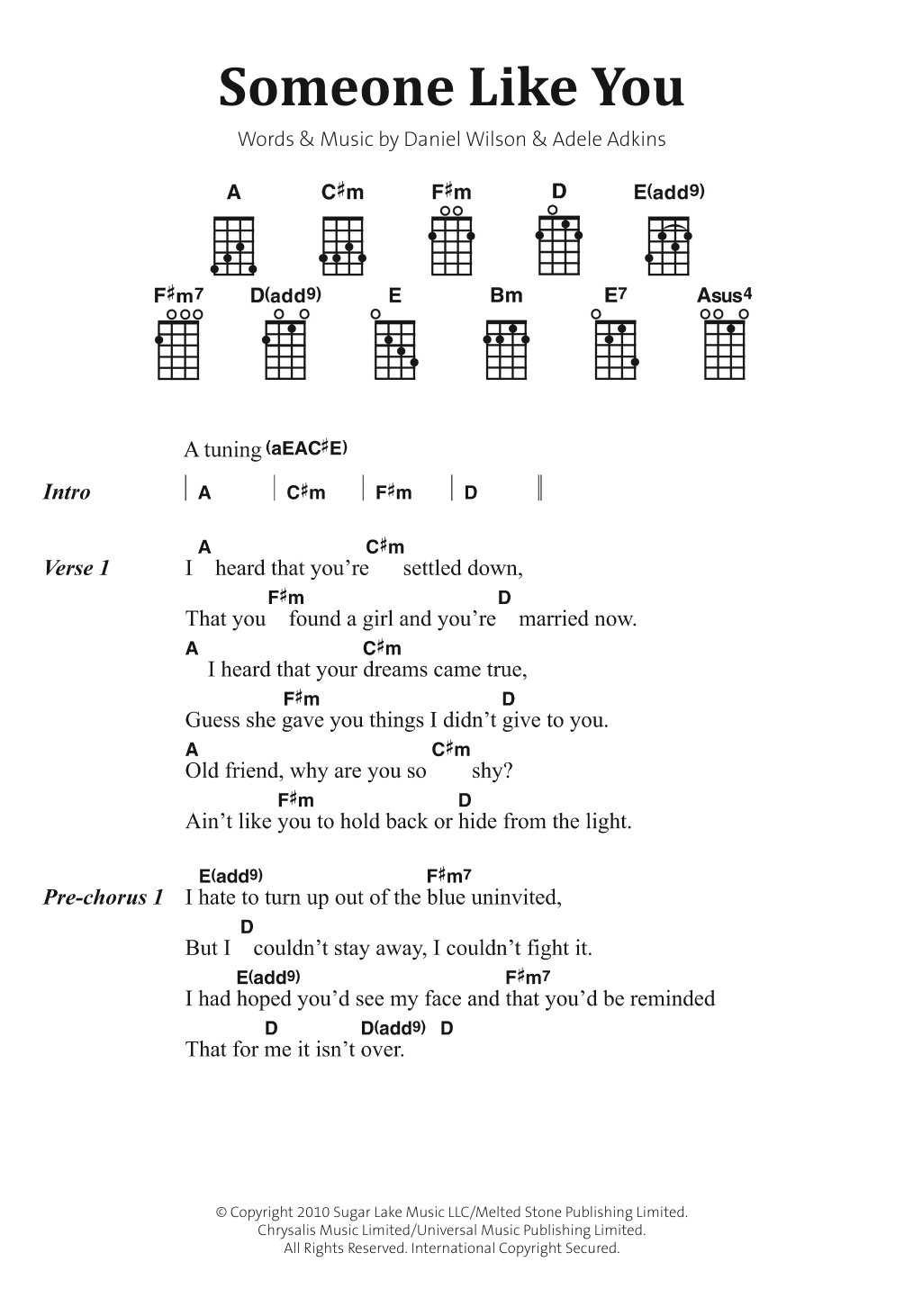 Someone Like You Chords Someone Like You Adele Piano Vocal Guitar Right Hand Melody Digital Sheet Music