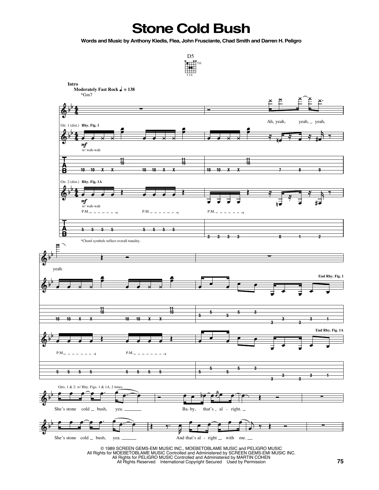 Stone Cold Chords Red Hot Chili Peppers Stone Cold Bush Sheet Music Notes Chords