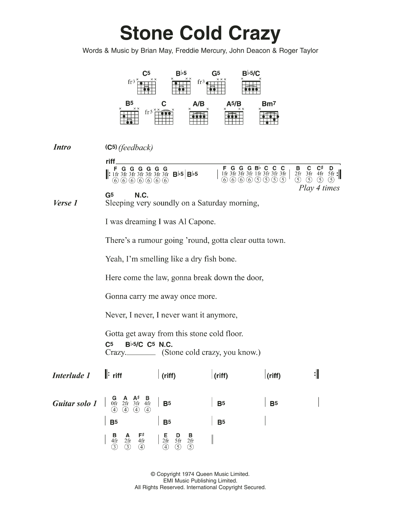 Stone Cold Chords Stone Cold Crazy Queen Guitar Chordslyrics Guitar Instructor