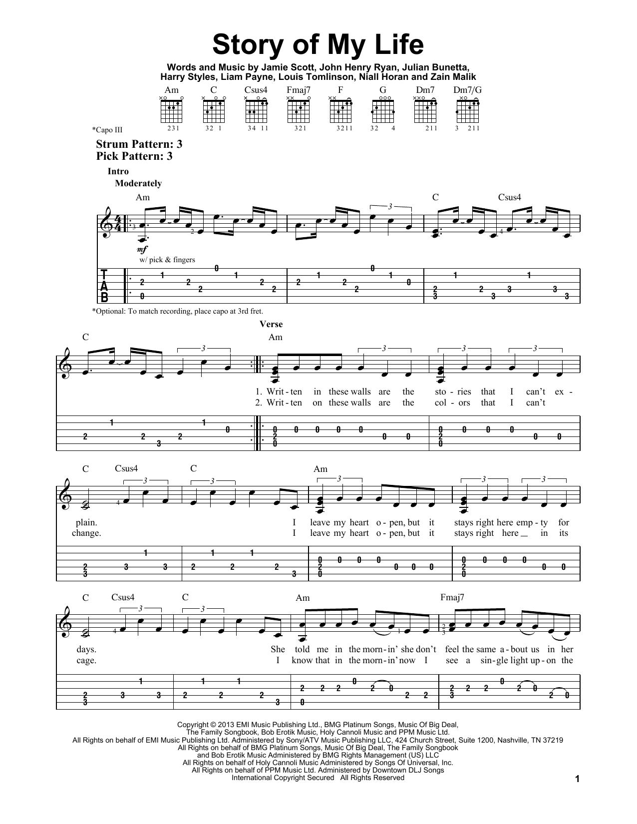 Story Of My Life Chords Story Of My Life One Direction Easy Guitar Tab Guitar Instructor