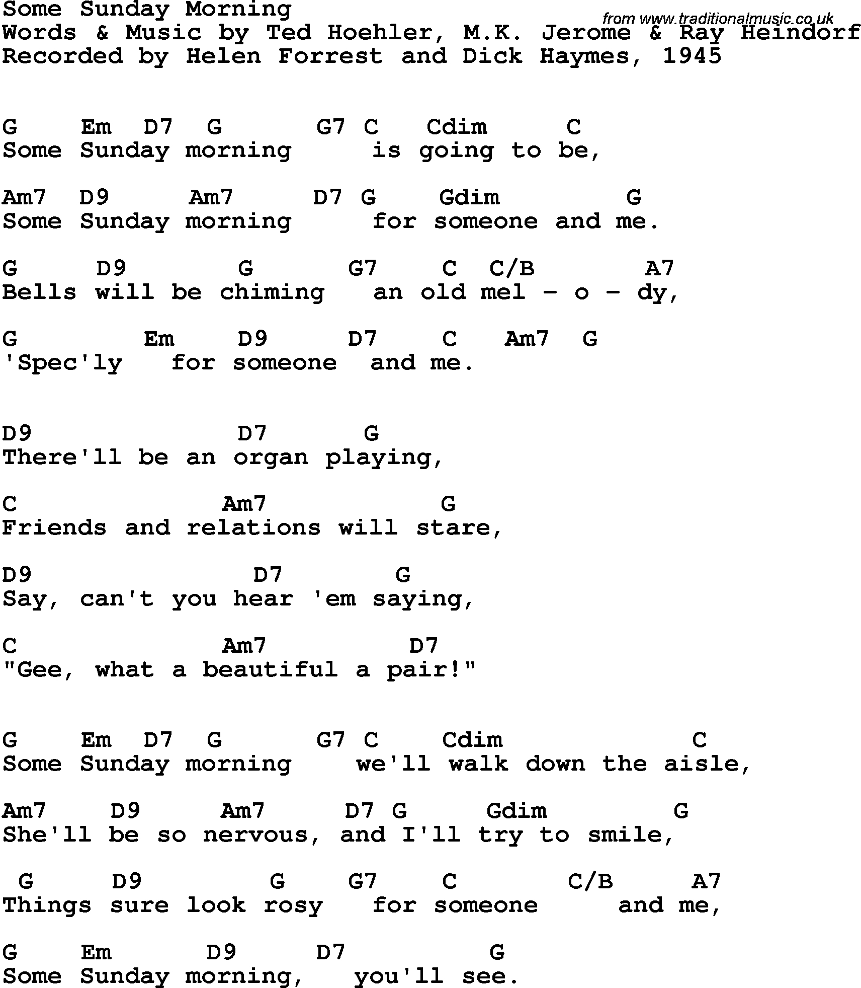Sunday Morning Chords Song Lyrics With Guitar Chords For Some Sunday Morning Helen