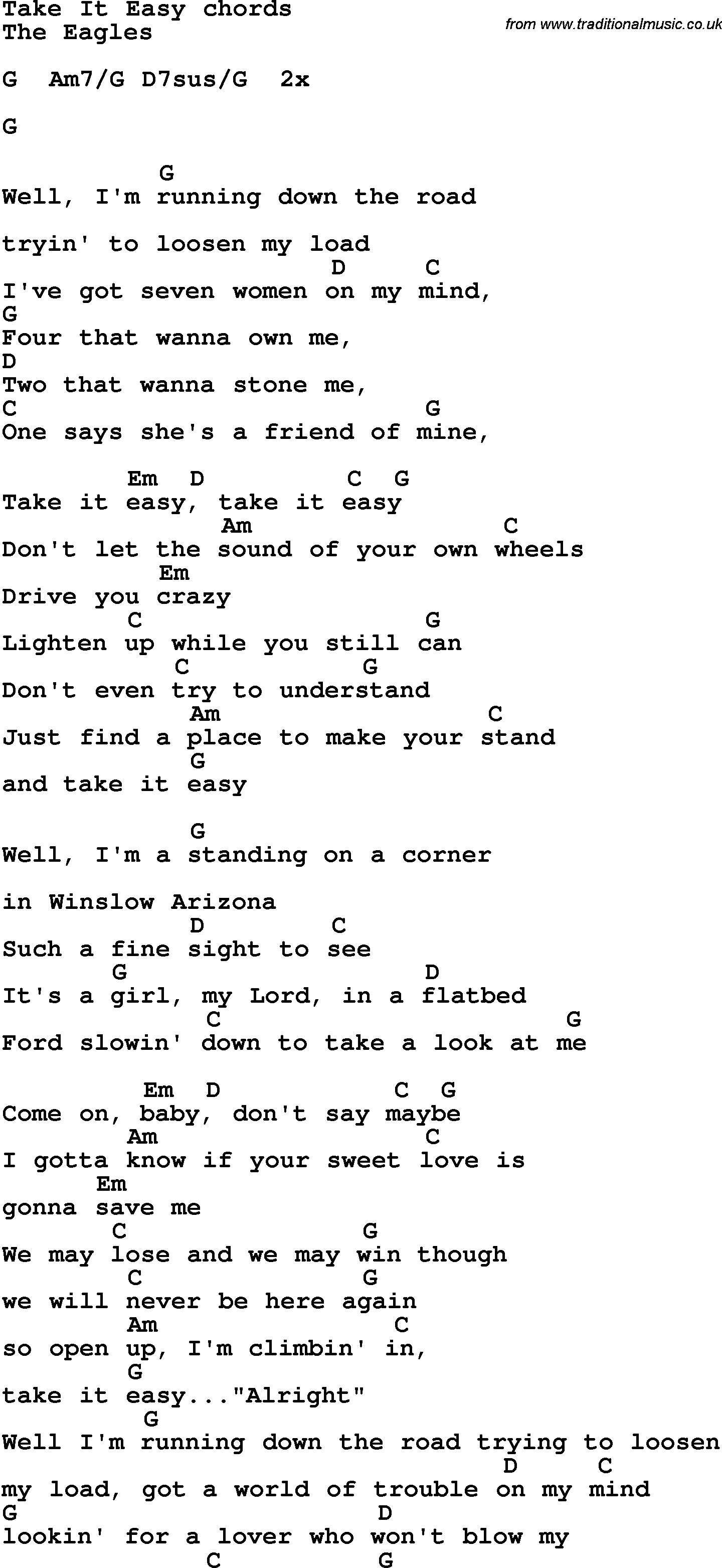 Take It Easy Chords Song Lyrics With Guitar Chords For Take It Easy The Eagles