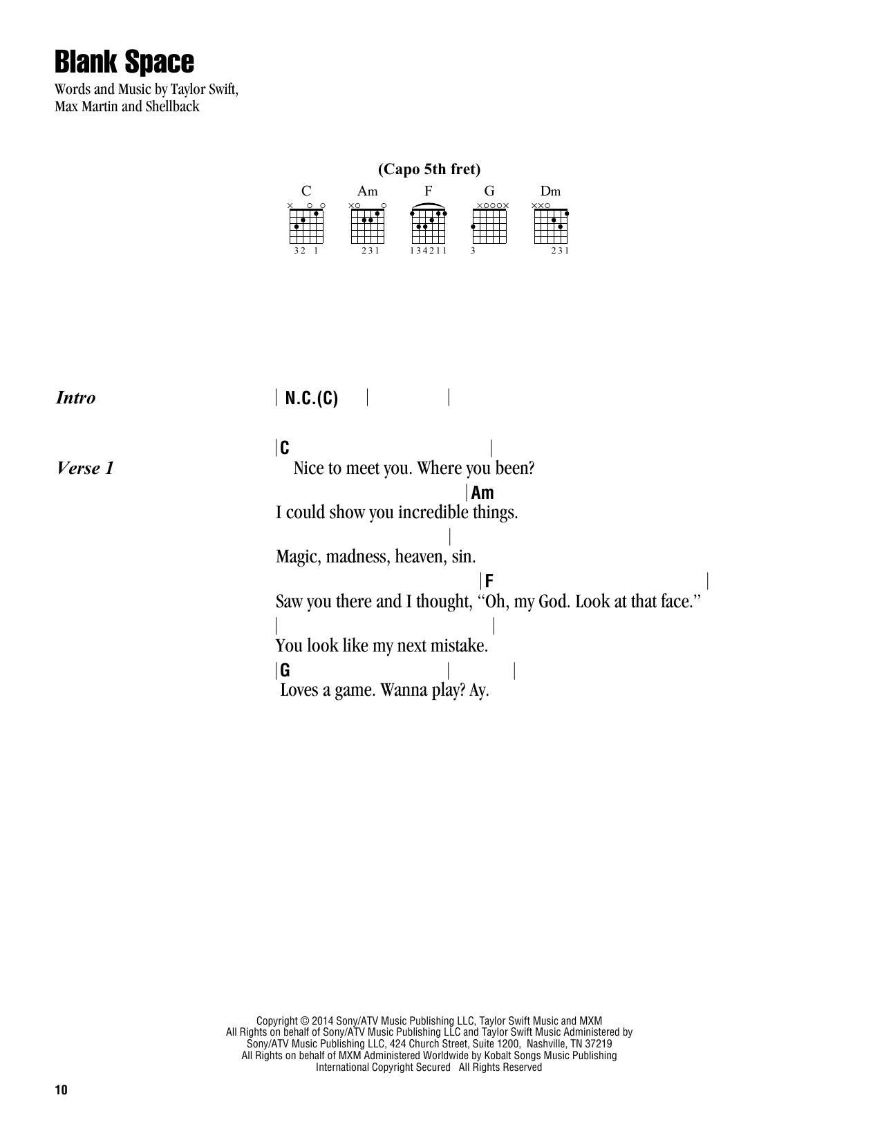 Teardrops On My Guitar Chords Blank Space Guitar Chordslyrics Print Sheet Music Now