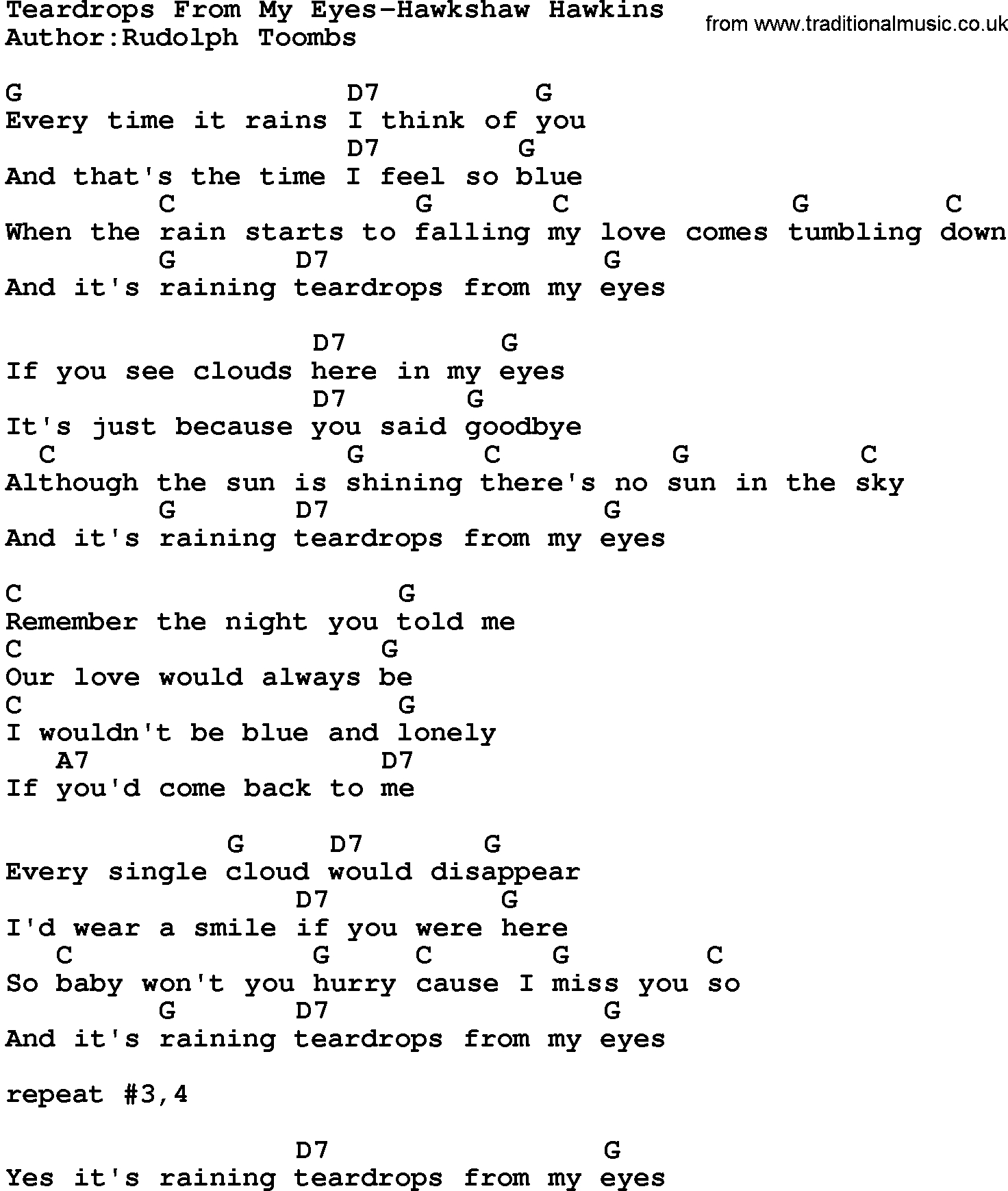 Teardrops On My Guitar Chords Country Musicteardrops From My Eyes Hawkshaw Hawkins Lyrics And Chords