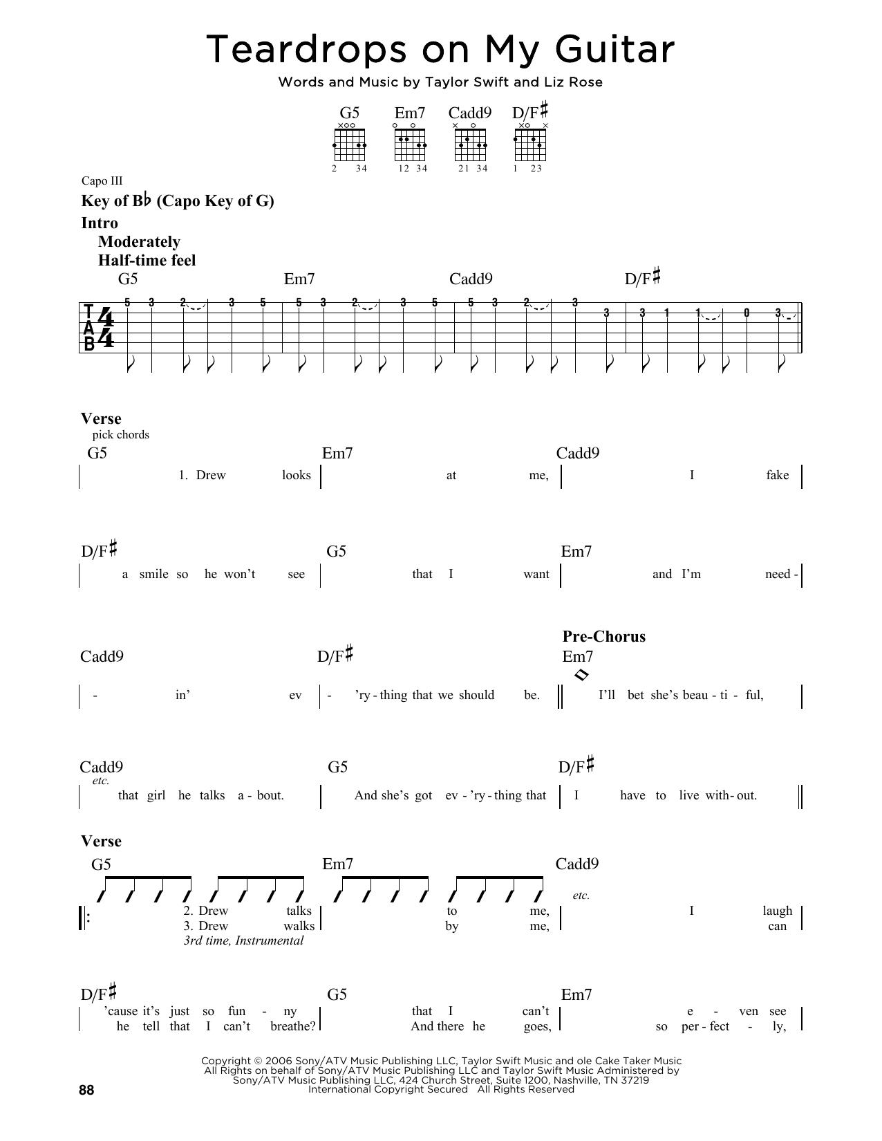 Teardrops On My Guitar Chords Sheet Music Digital Files To Print Licensed Pop Digital Sheet Music