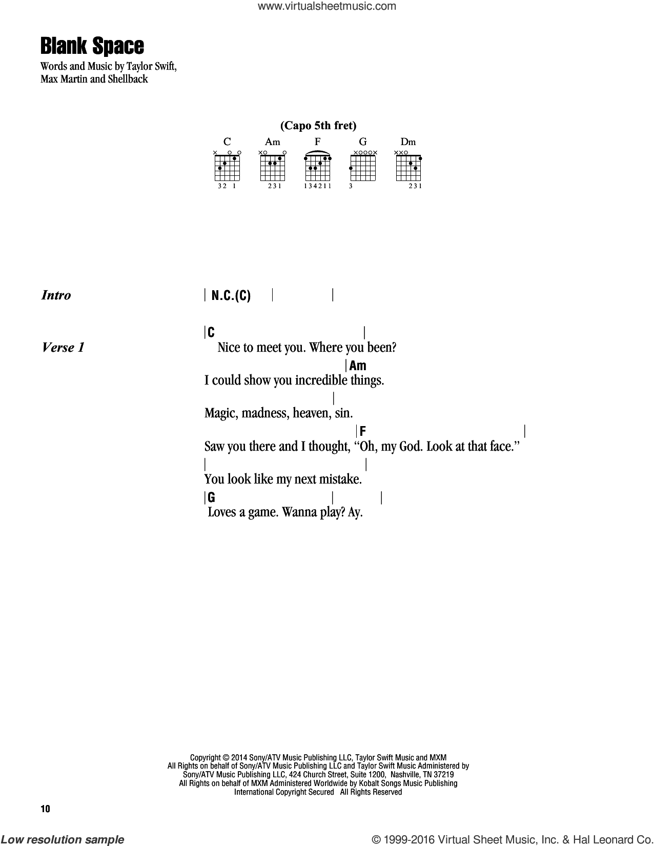 Teardrops On My Guitar Chords Swift Blank Space Sheet Music For Guitar Chords Pdf