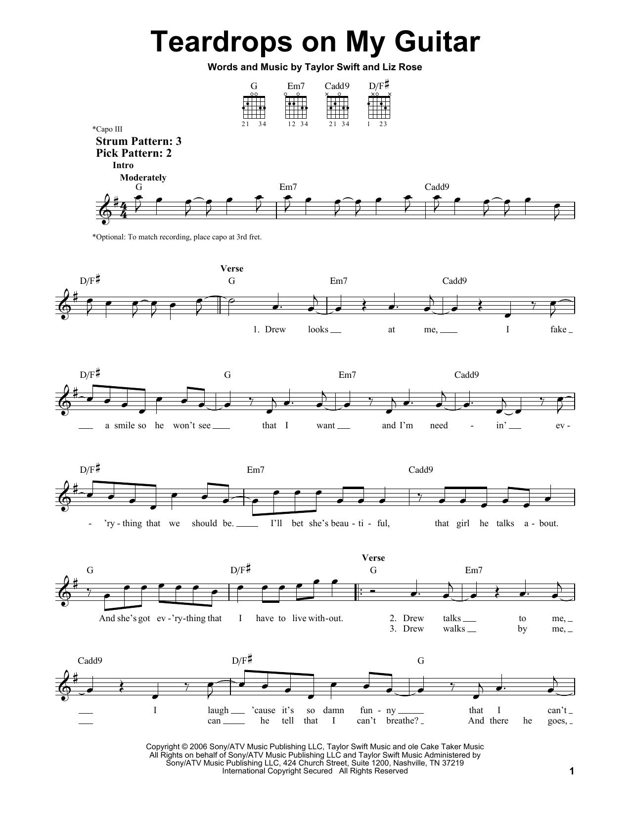 Teardrops On My Guitar Chords Taylor Swift Teardrops On My Guitar Sheet Music Notes Chords Download Printable Easy Guitar Sku 156358