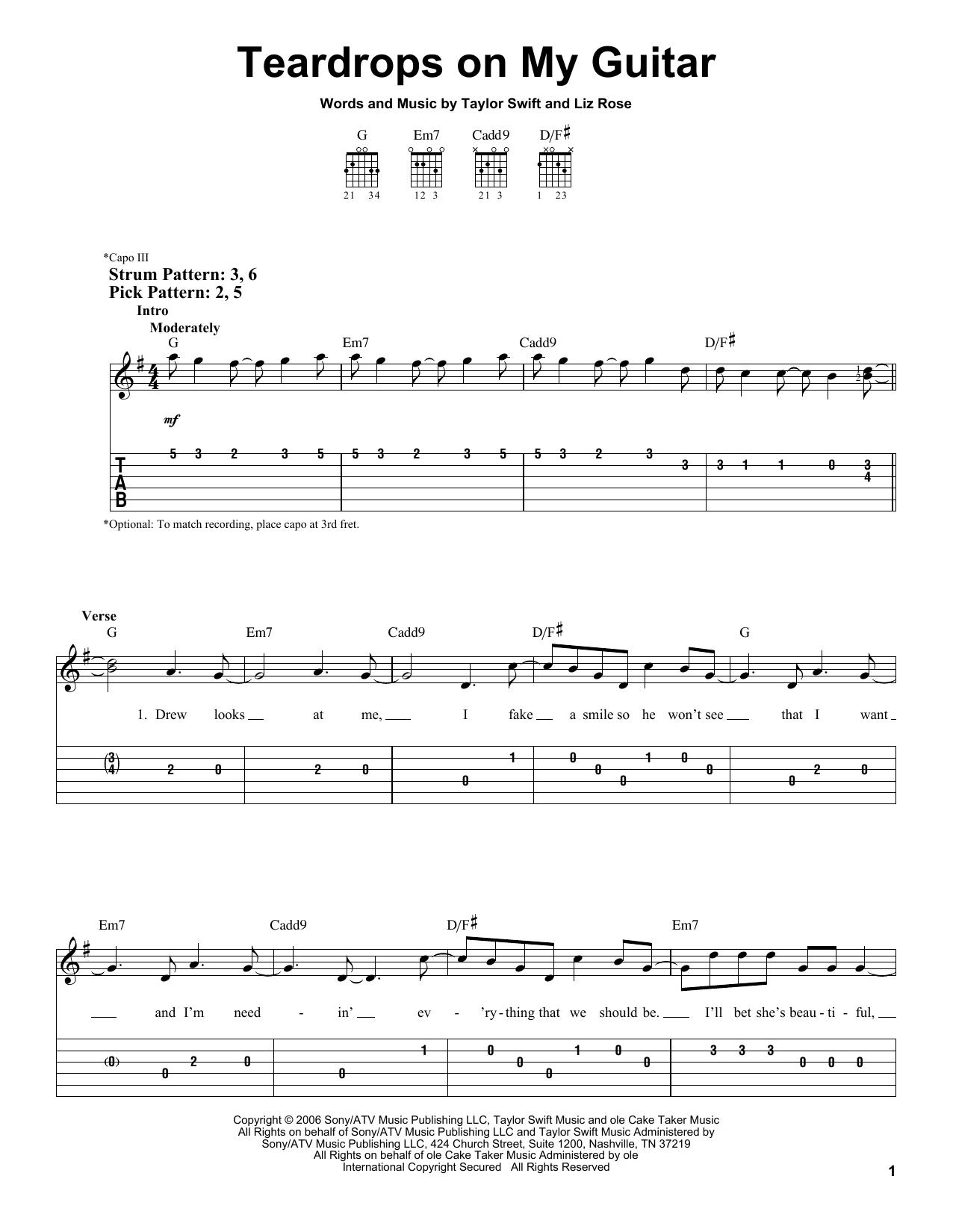 Teardrops On My Guitar Chords Teardrops On My Guitar Taylor Swift Easy Guitar Tab Guitar