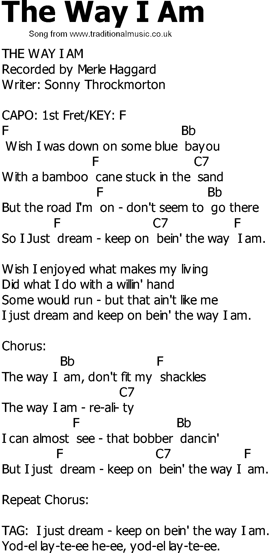 The Way I Am Chords Old Country Song Lyrics With Chords The Way I Am