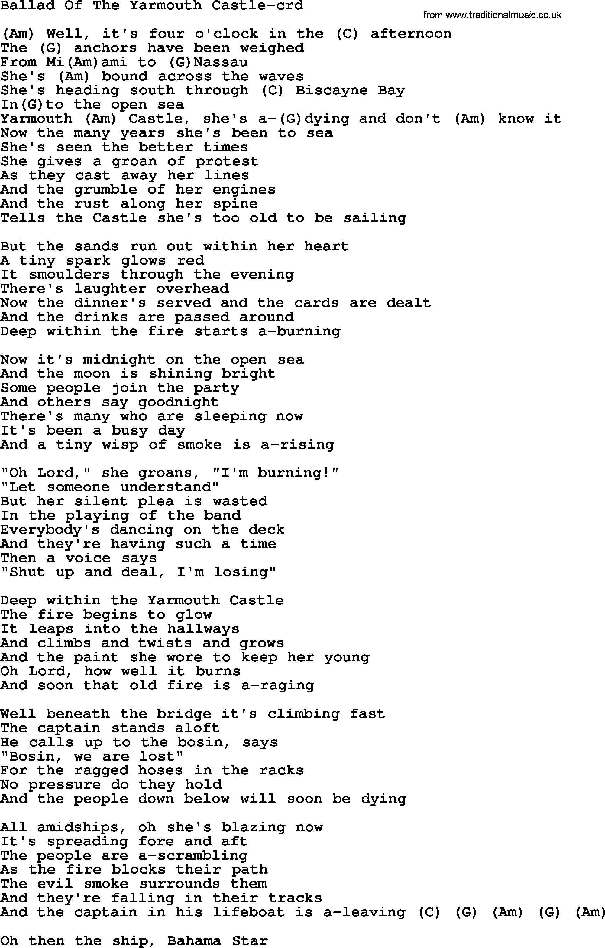 Tiny Dancer Chords Ballad Of The Yarmouth Castle Gordon Lightfoot Lyrics And Chords