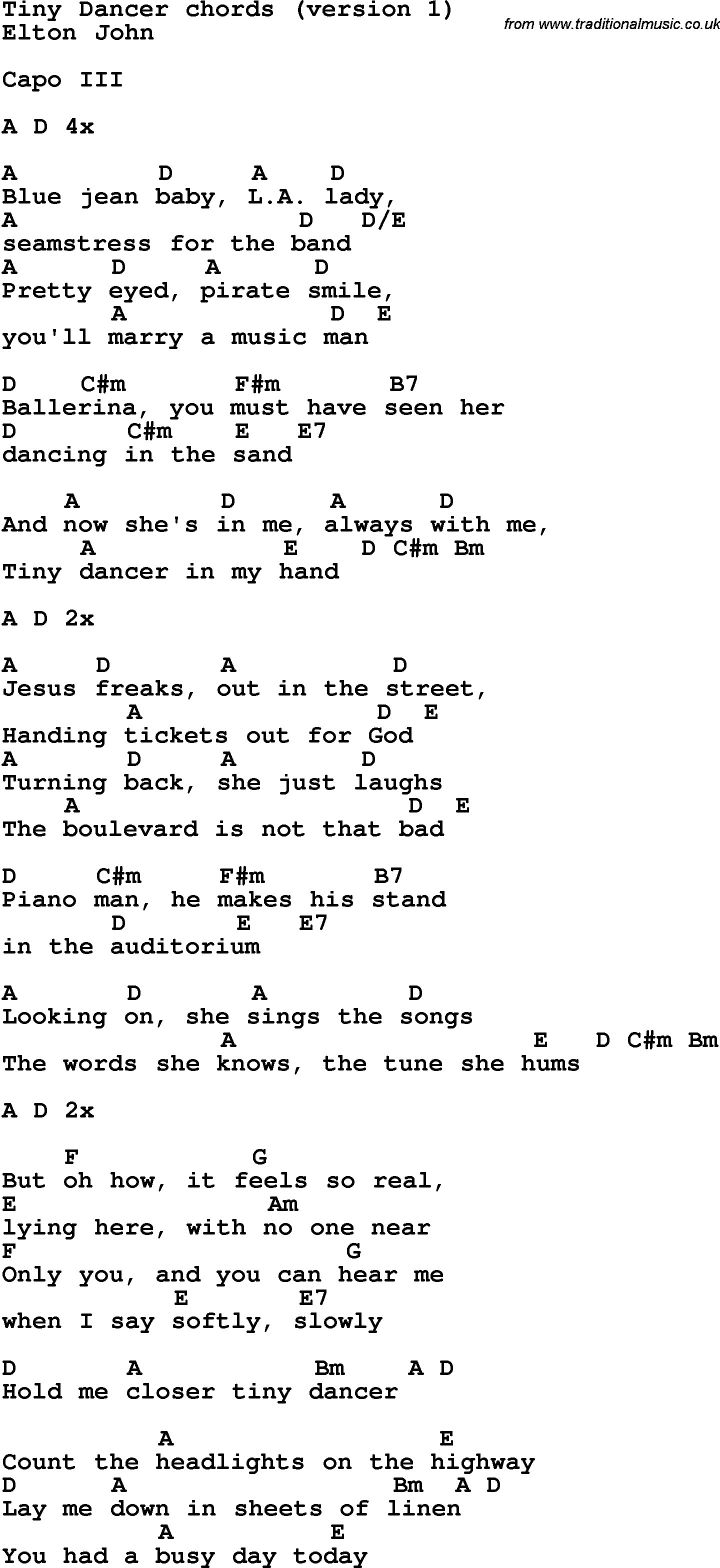 Tiny Dancer Chords Song Lyrics With Guitar Chords For Tiny Dancer