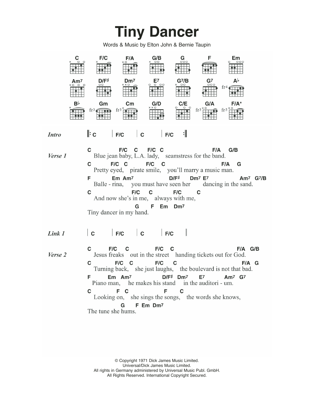 Tiny Dancer Chords Tiny Dancer Elton John Piano Vocal Guitar Right Hand Melody Digital Sheet Music