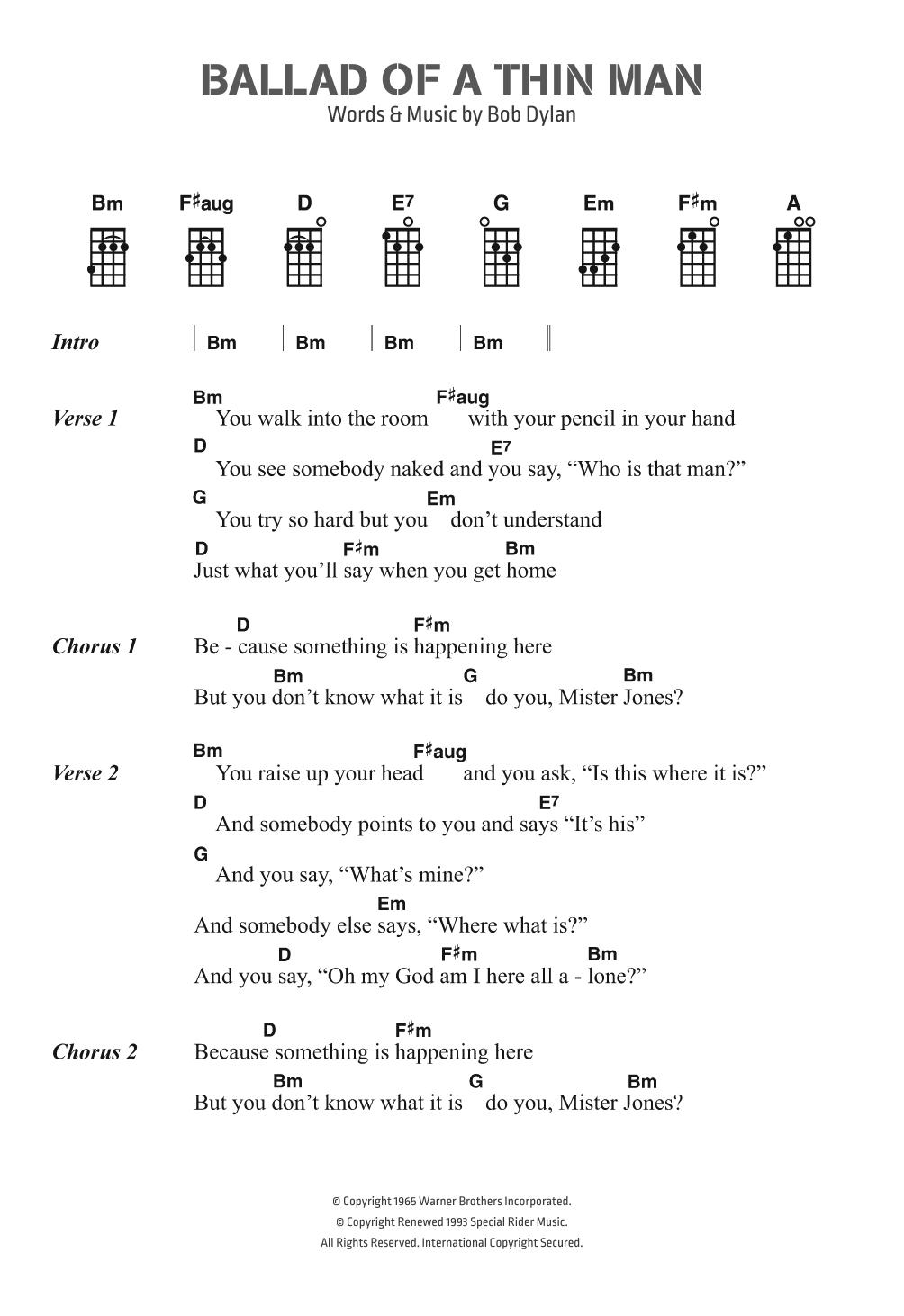 Twenty One Pilots Ukulele Chords Ballad Of A Thin Man Bob Dylan Ukulele Chordslyrics Digital Sheet Music