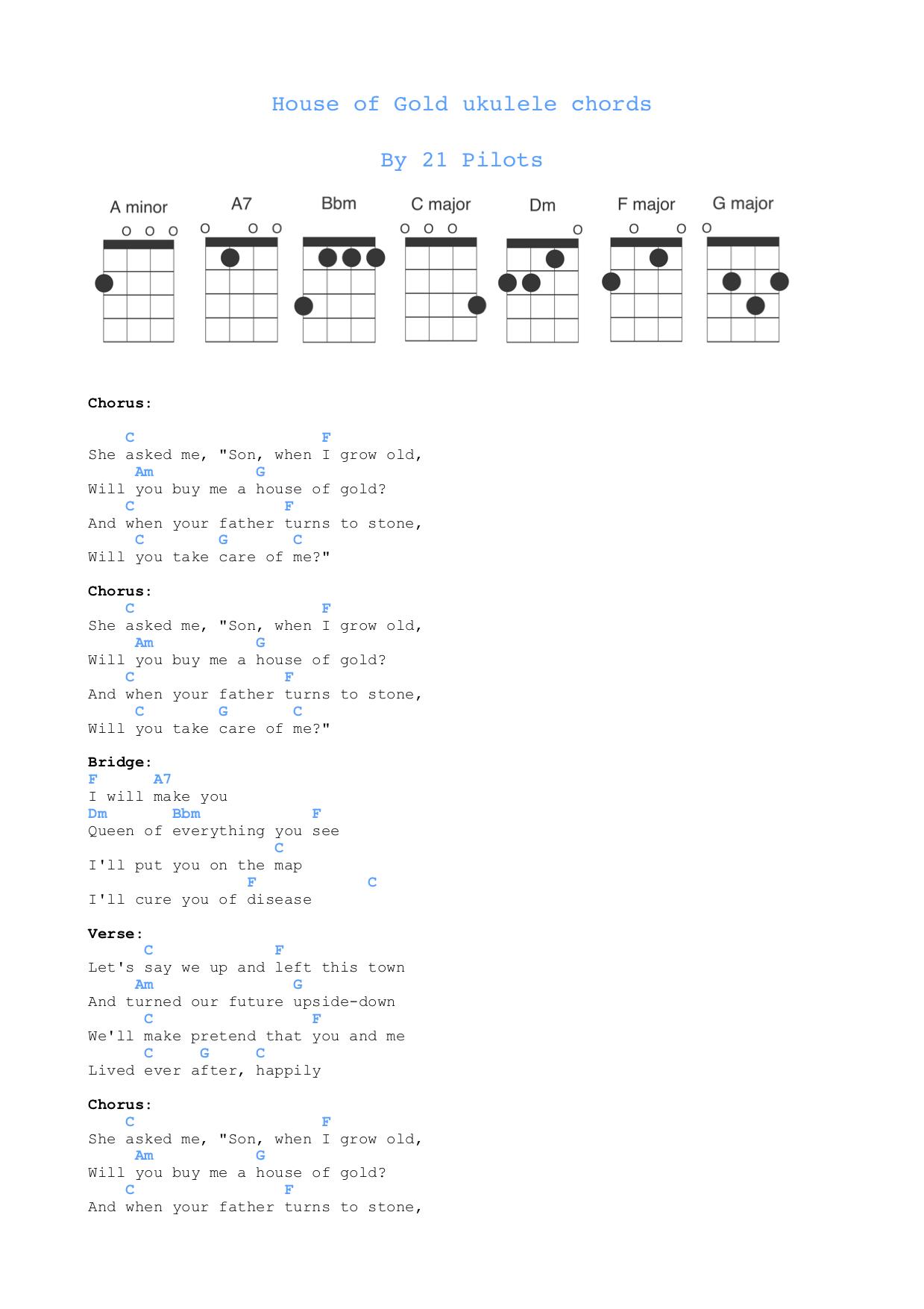 Twenty One Pilots Ukulele Chords House Of Gold Ukulele Chords Free Sheet Music