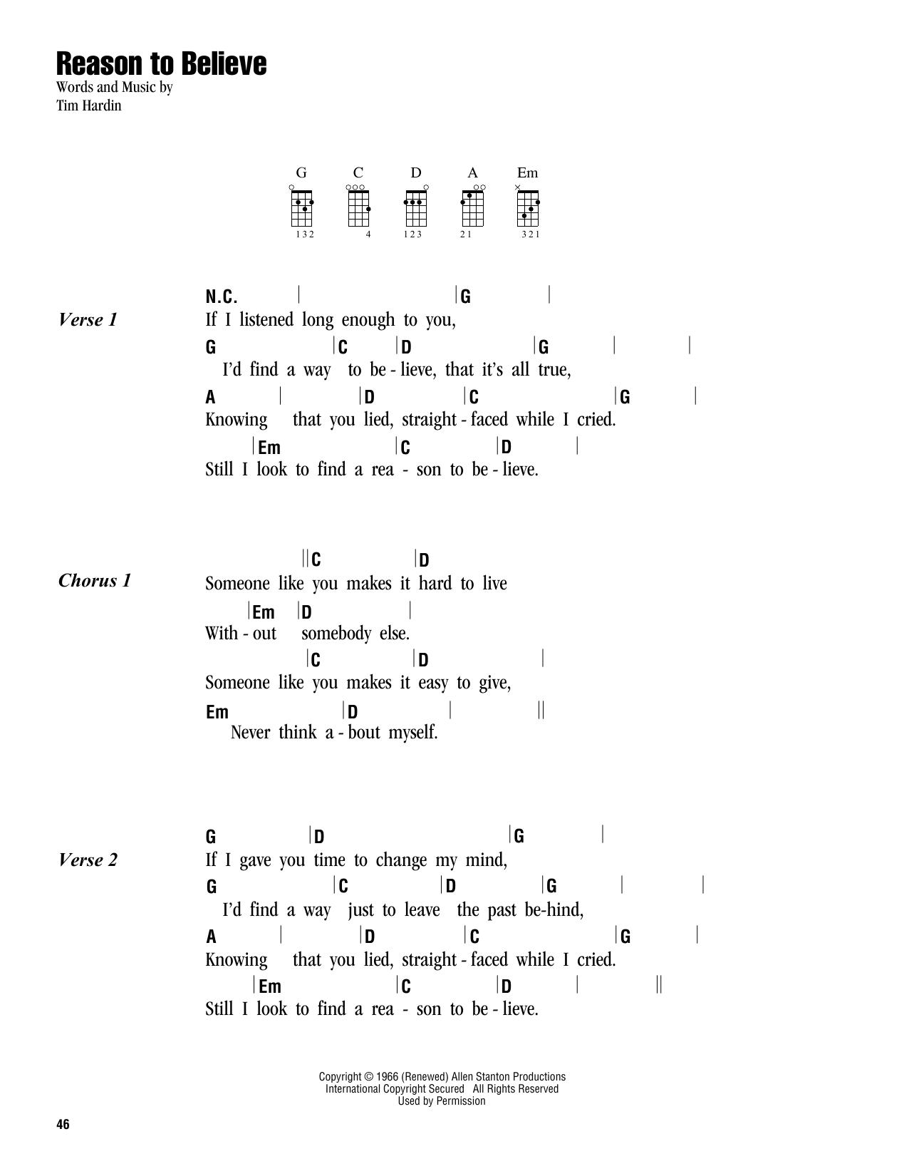 Twenty One Pilots Ukulele Chords Reason To Believe Rod Stewart Piano Vocal Guitar Right Hand Melody Digital Sheet Music