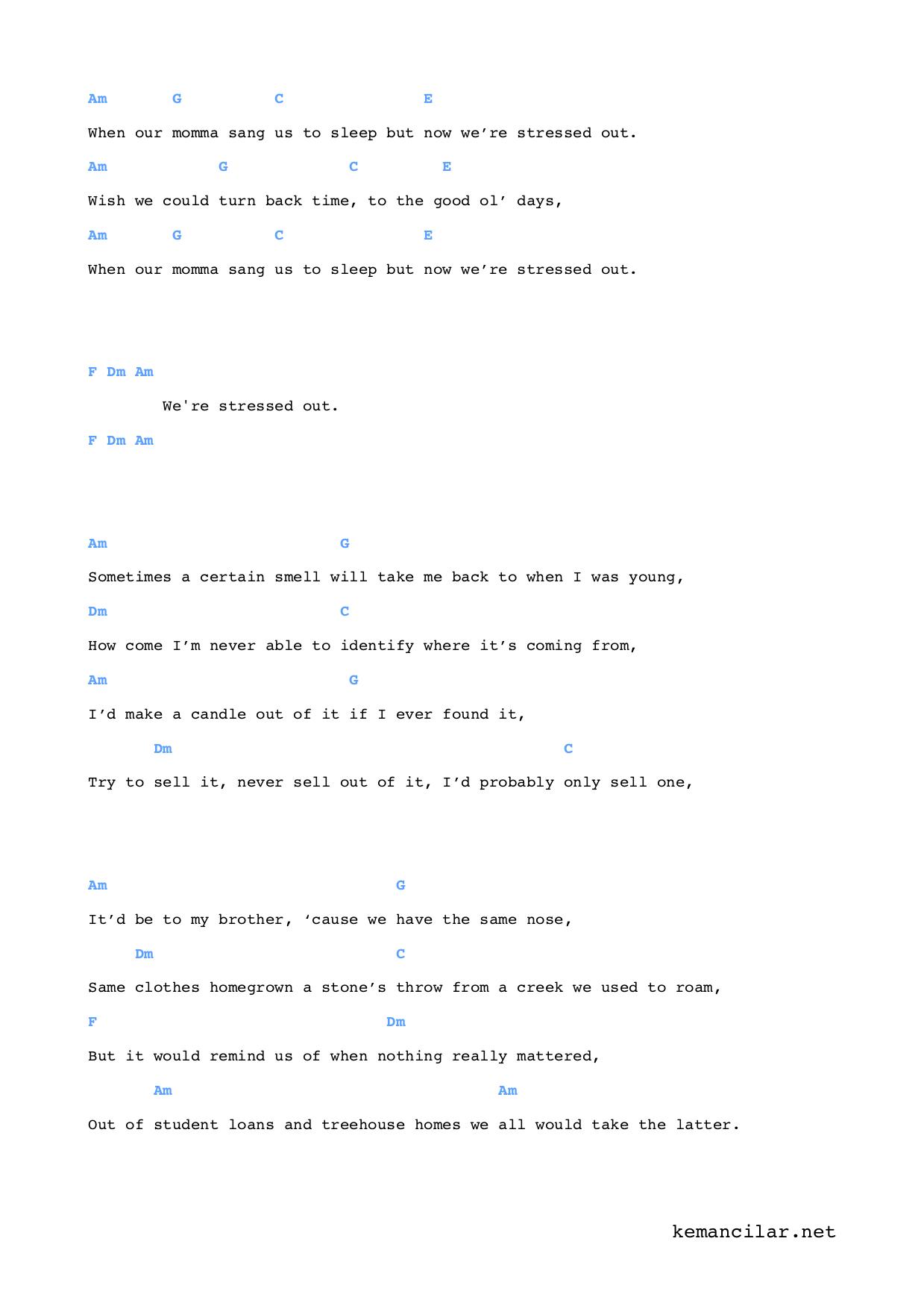 Twenty One Pilots Ukulele Chords Stressed Out Ukulele Chords Free Sheet Music