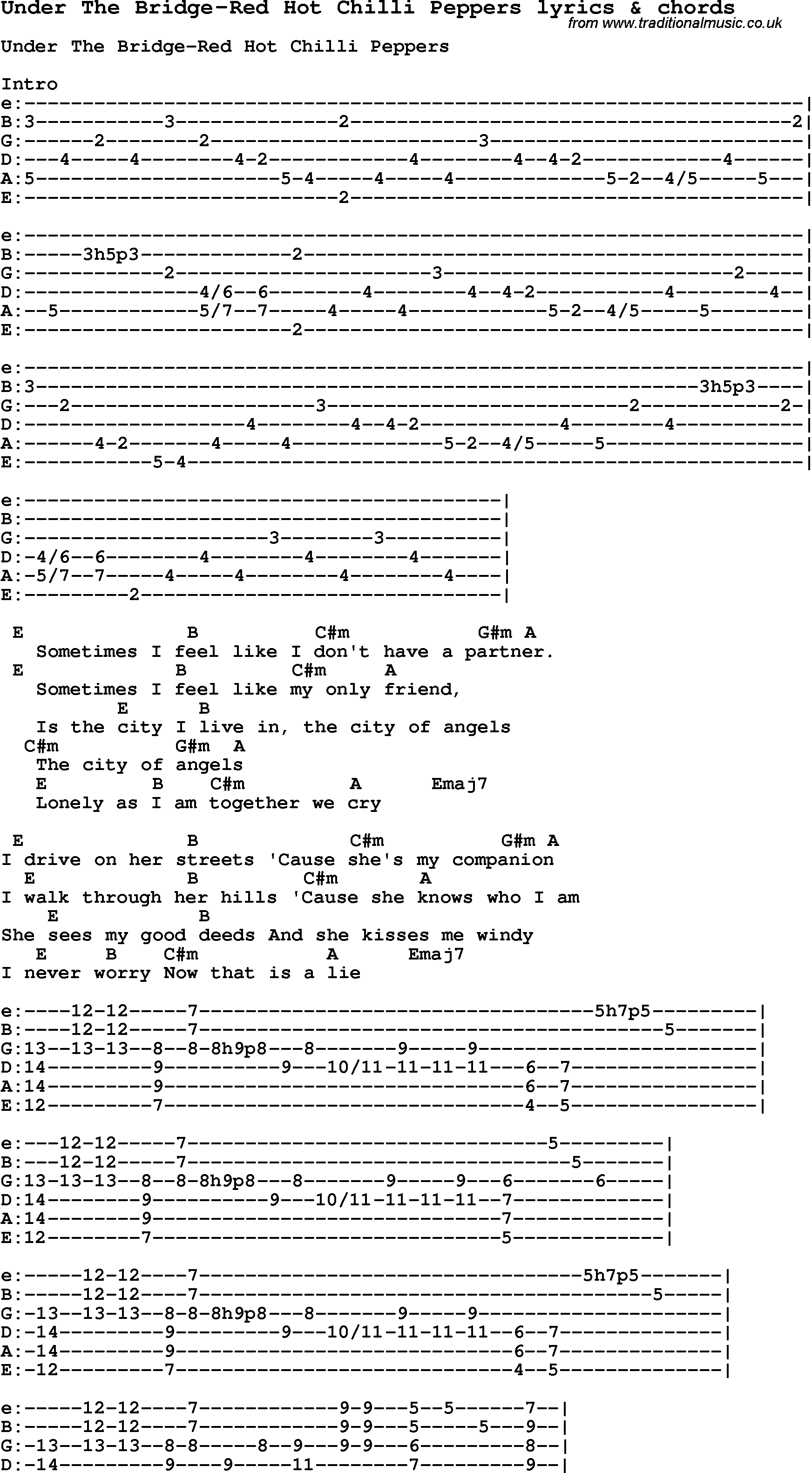 Under The Bridge Chords Love Song Lyrics Forunder The Bridge Red Hot Chilli Peppers With