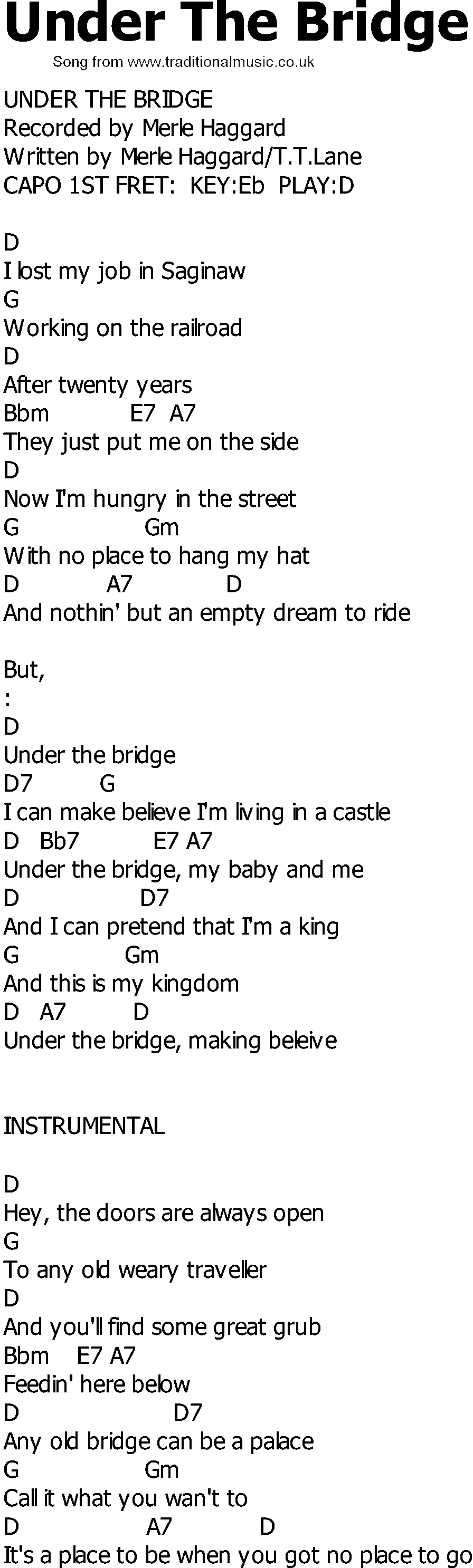 Under The Bridge Chords Old Country Song Lyrics With Chords Under The Bridge