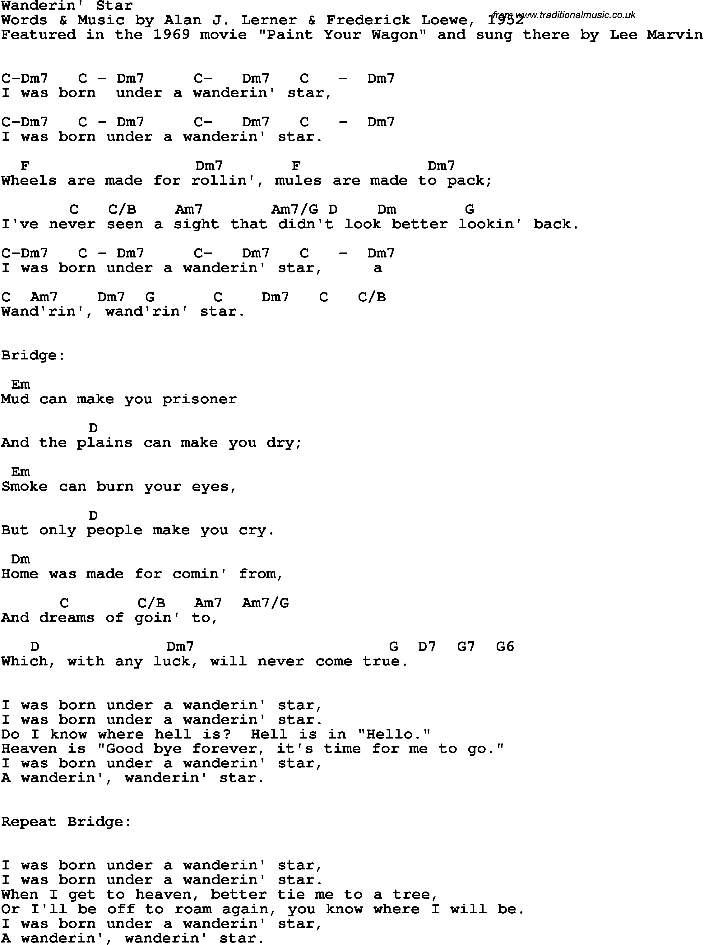 Under The Bridge Chords Song Lyrics With Guitar Chords For Wanderin Star Lee Marvin 1969