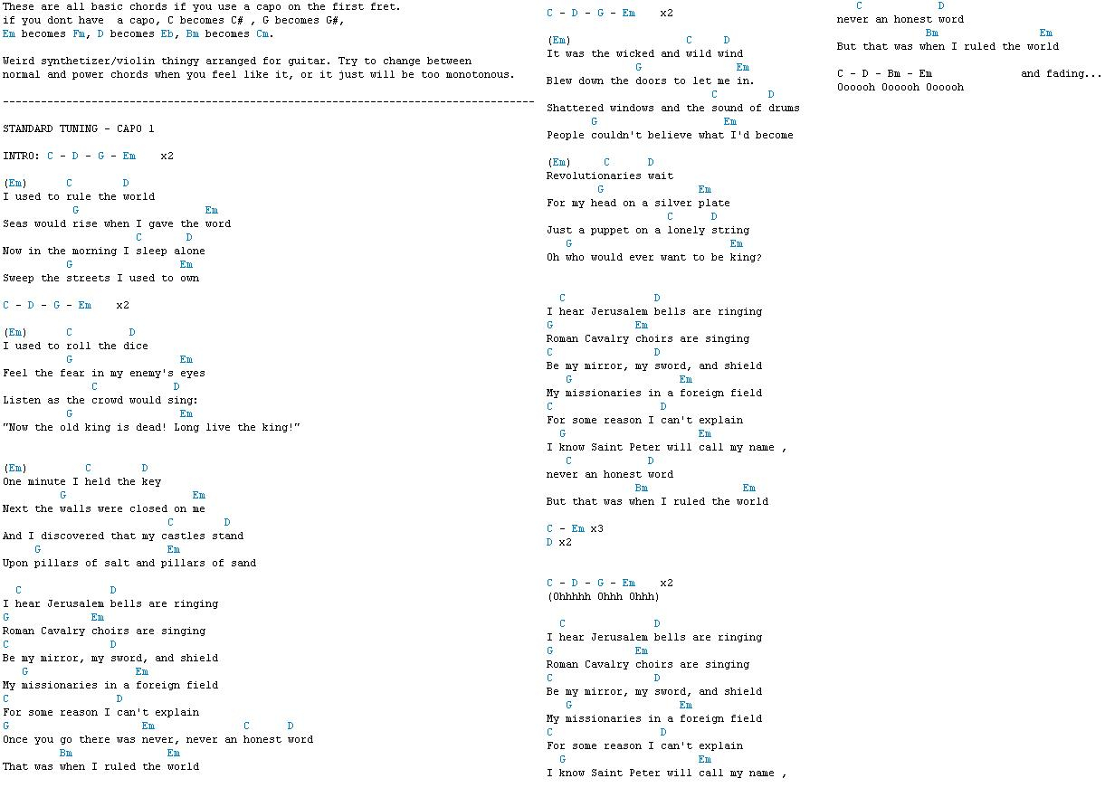 Viva La Vida Chords Coldplay Tabs Awesome Guitar Tabs