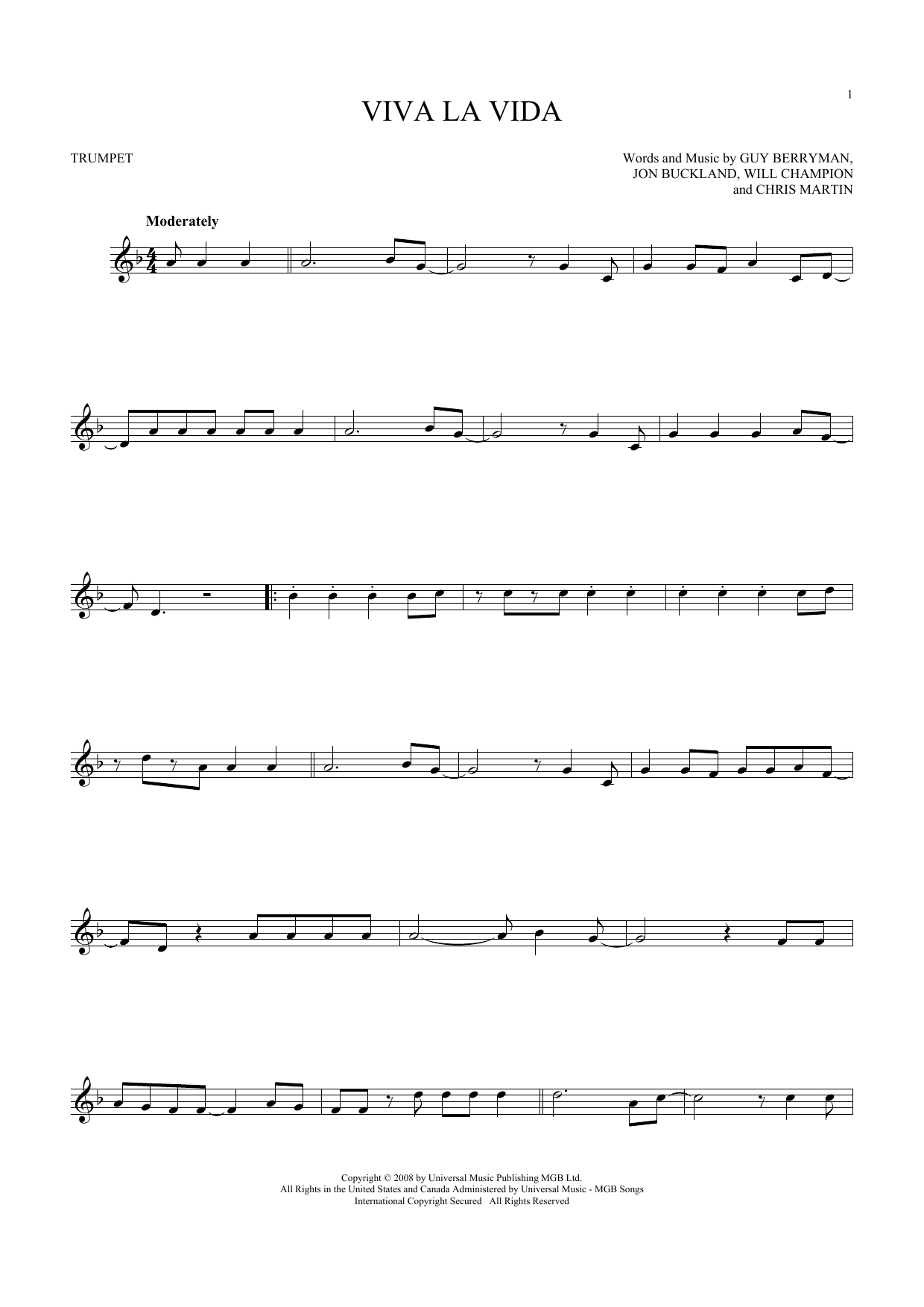 Viva La Vida Chords Coldplay Viva La Vida Sheet Music Notes Chords Download Printable Trumpet Sku 180665