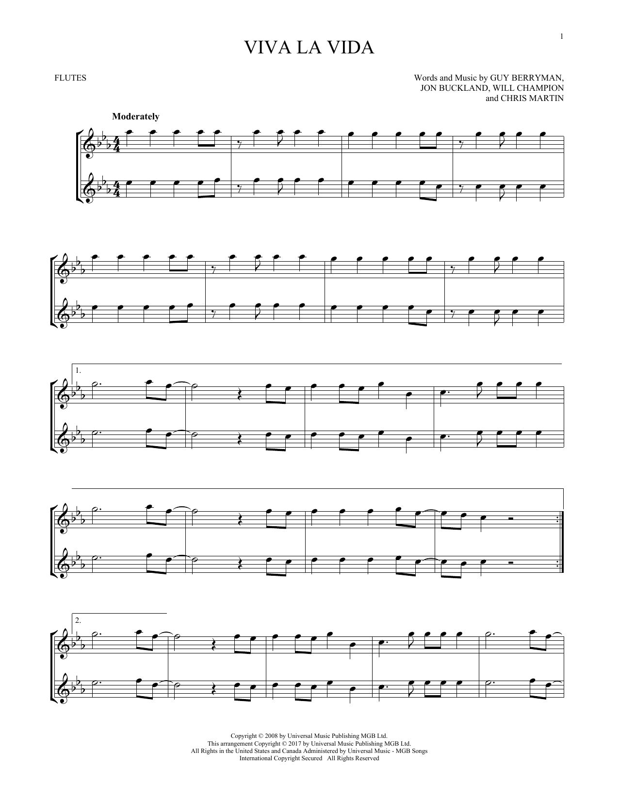 Viva La Vida Chords Sheet Music Digital Files To Print Licensed Guy Berryman Digital