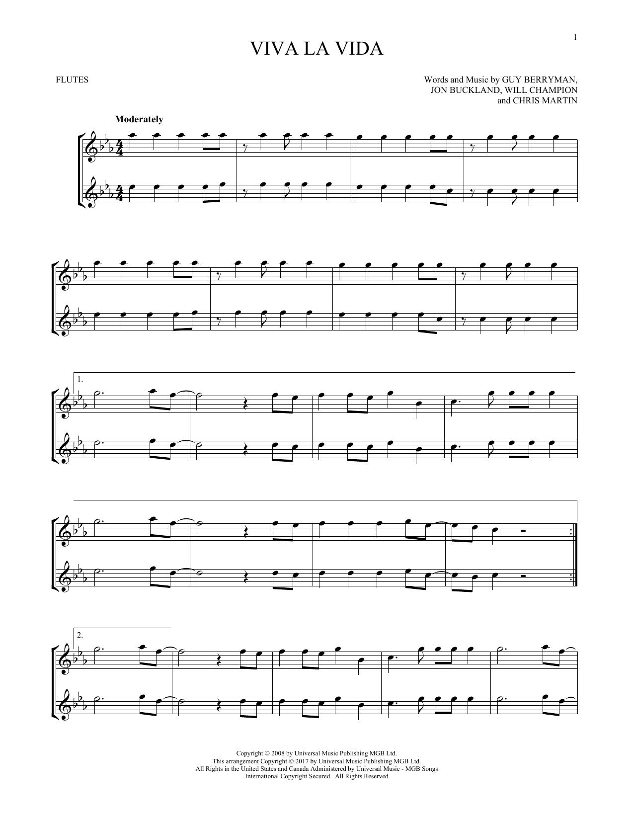 Viva La Vida Chords Sheet Music Digital Files To Print Licensed Guy Berryman Digital