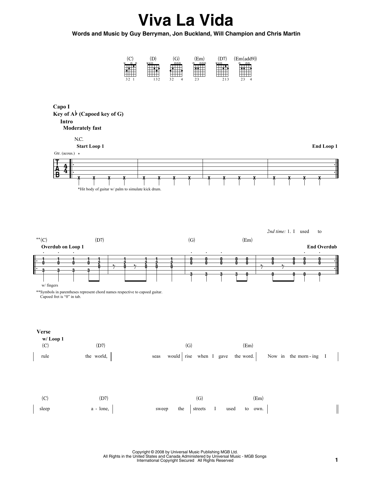 Viva La Vida Chords Viva La Vida Coldplay Guitar Lead Sheet Guitar Instructor
