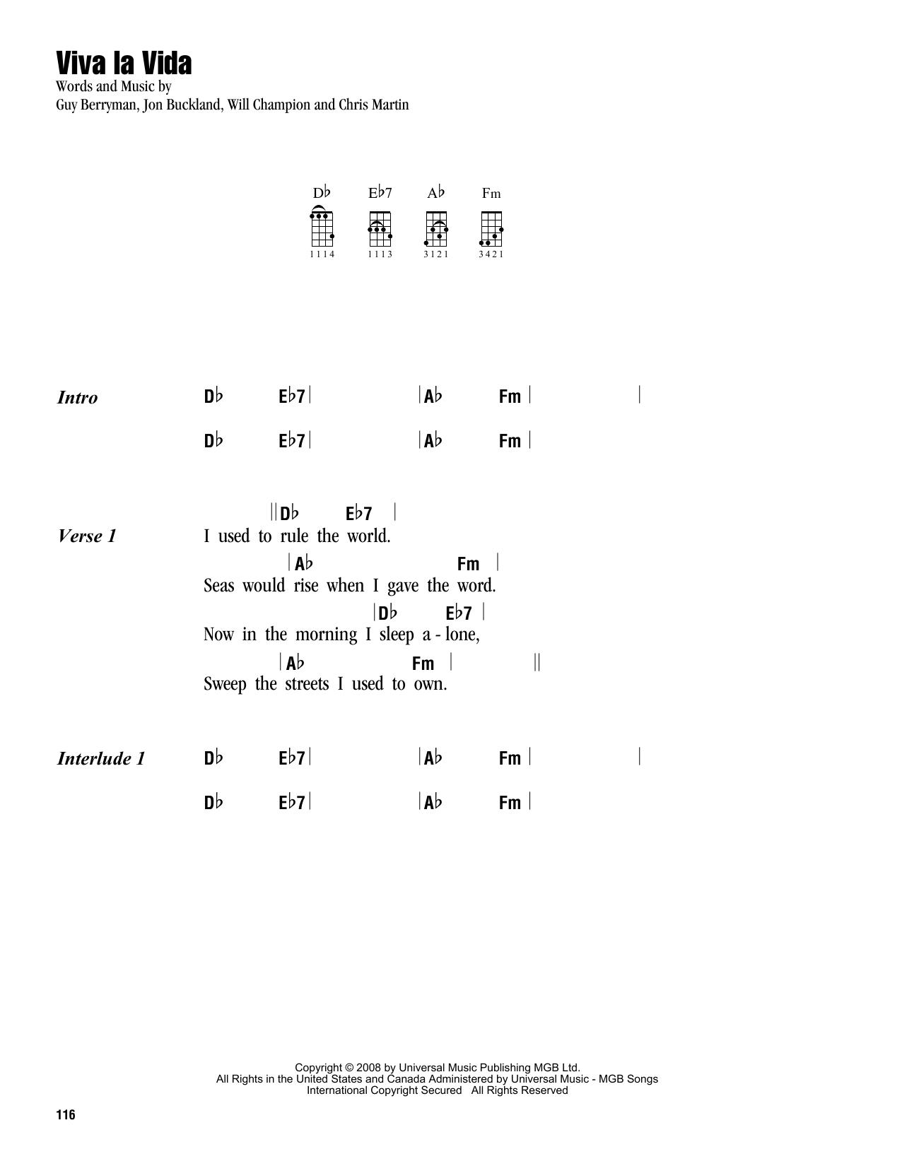 Viva La Vida Chords Viva La Vida Sheet Music To Download