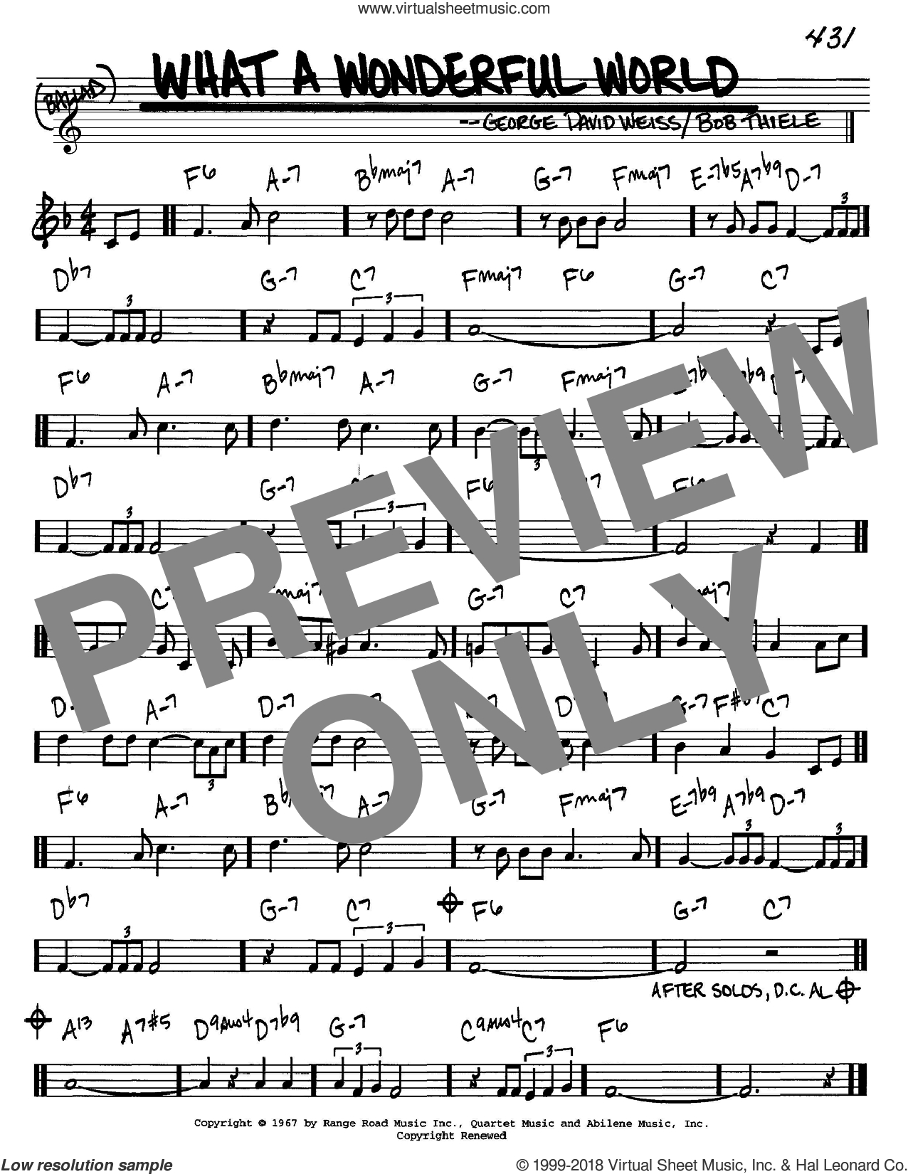 What A Wonderful World Chords Armstrong What A Wonderful World Sheet Music Real Book Melody And Chords In C