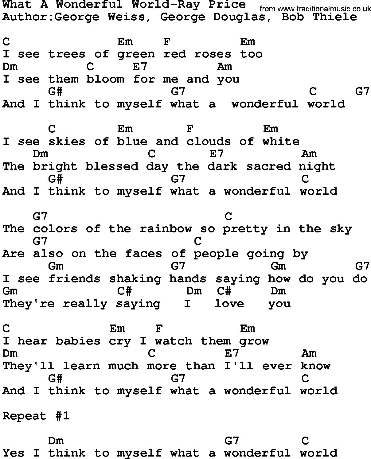 What A Wonderful World Chords Country Musicwhat A Wonderful World Ray Price Lyrics And Chords
