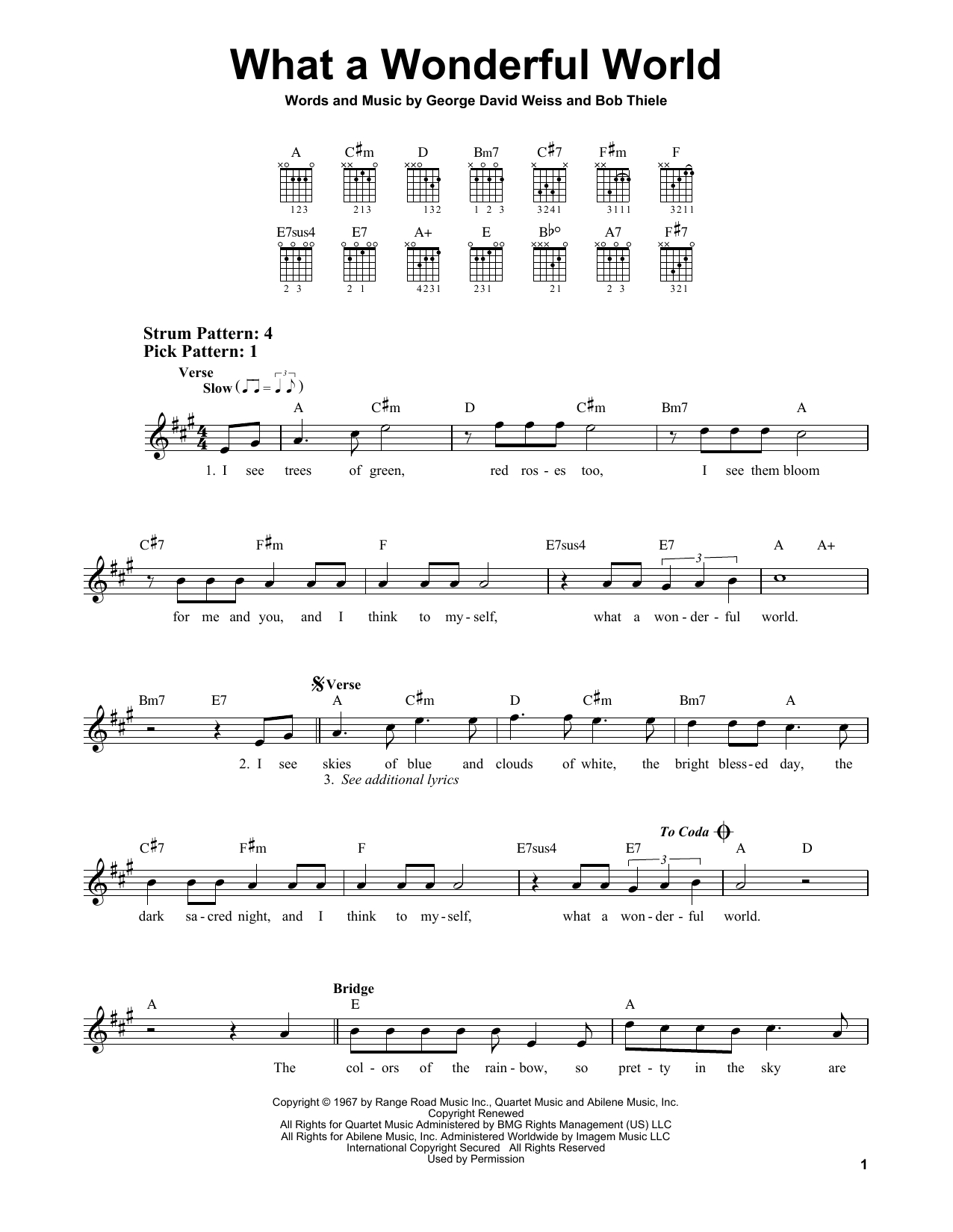 What A Wonderful World Chords Louis Armstrong What A Wonderful World Sheet Music Notes Chords Download Printable Easy Guitar Sku 415731