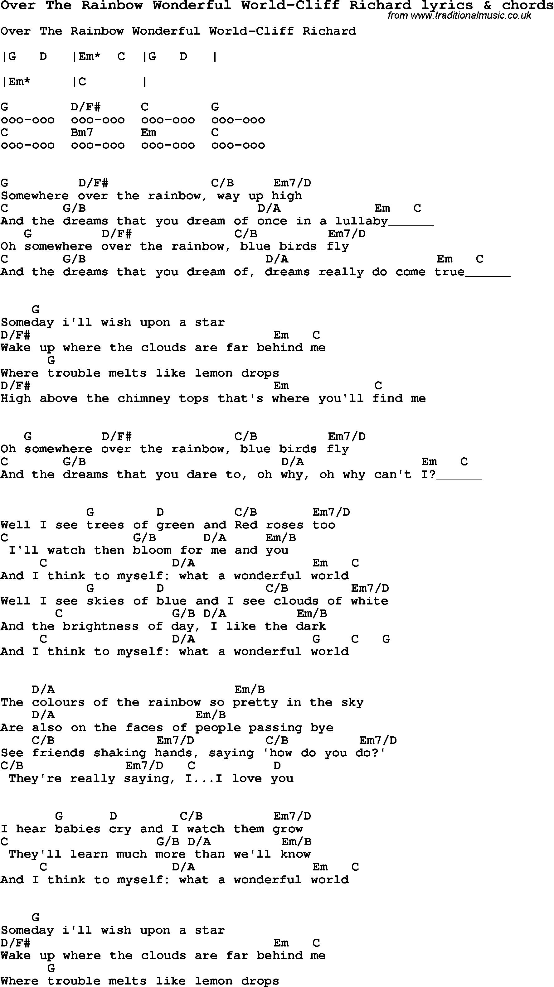 What A Wonderful World Chords Love Song Lyrics Forover The Rainbow Wonderful World Cliff Richard