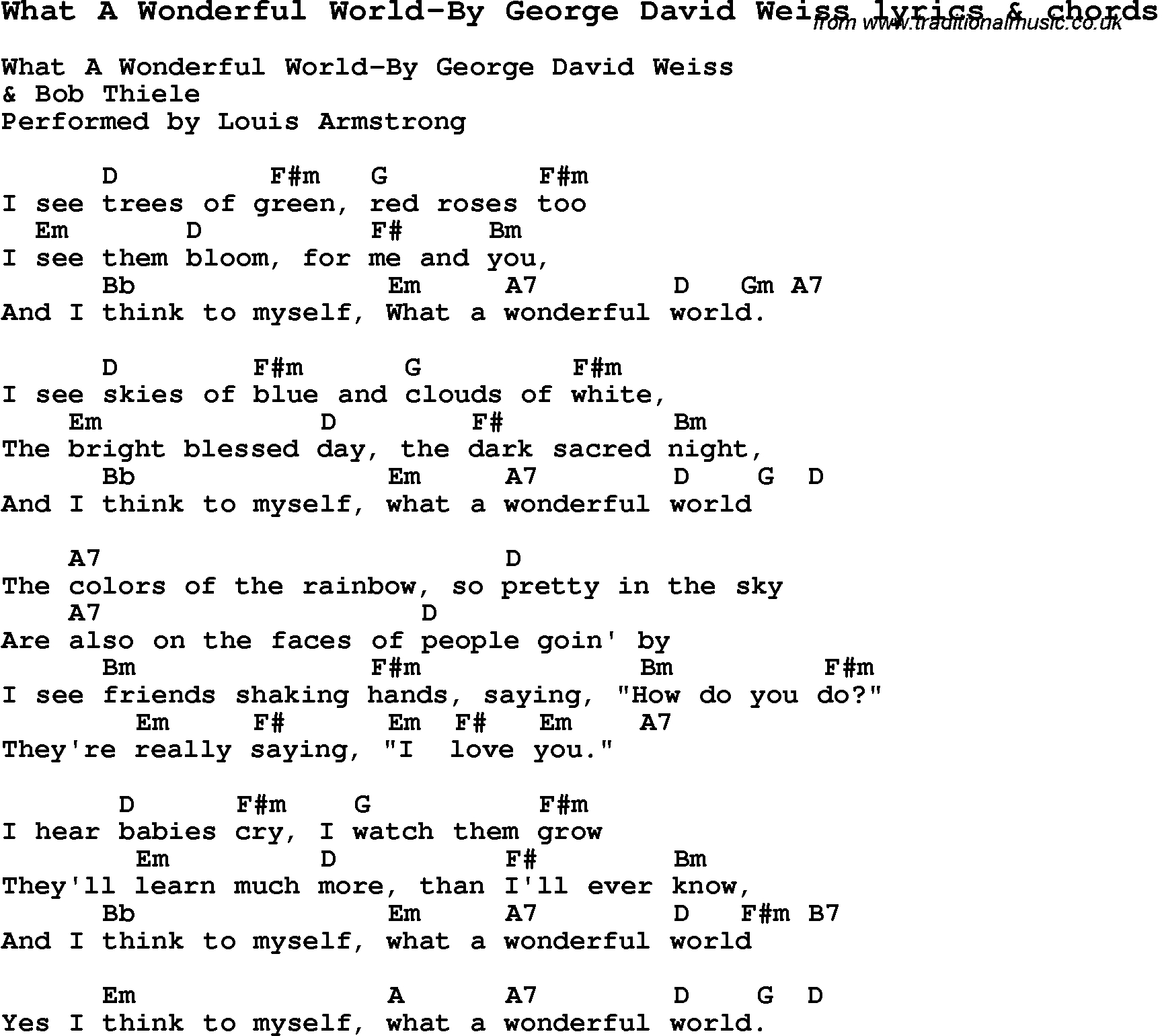 What A Wonderful World Chords Love Song Lyrics Forwhat A Wonderful World George David Weiss