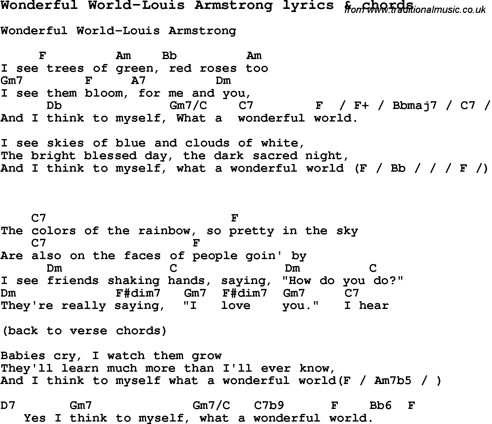 What A Wonderful World Chords Love Song Lyrics Forwonderful World Louis Armstrong With Chords