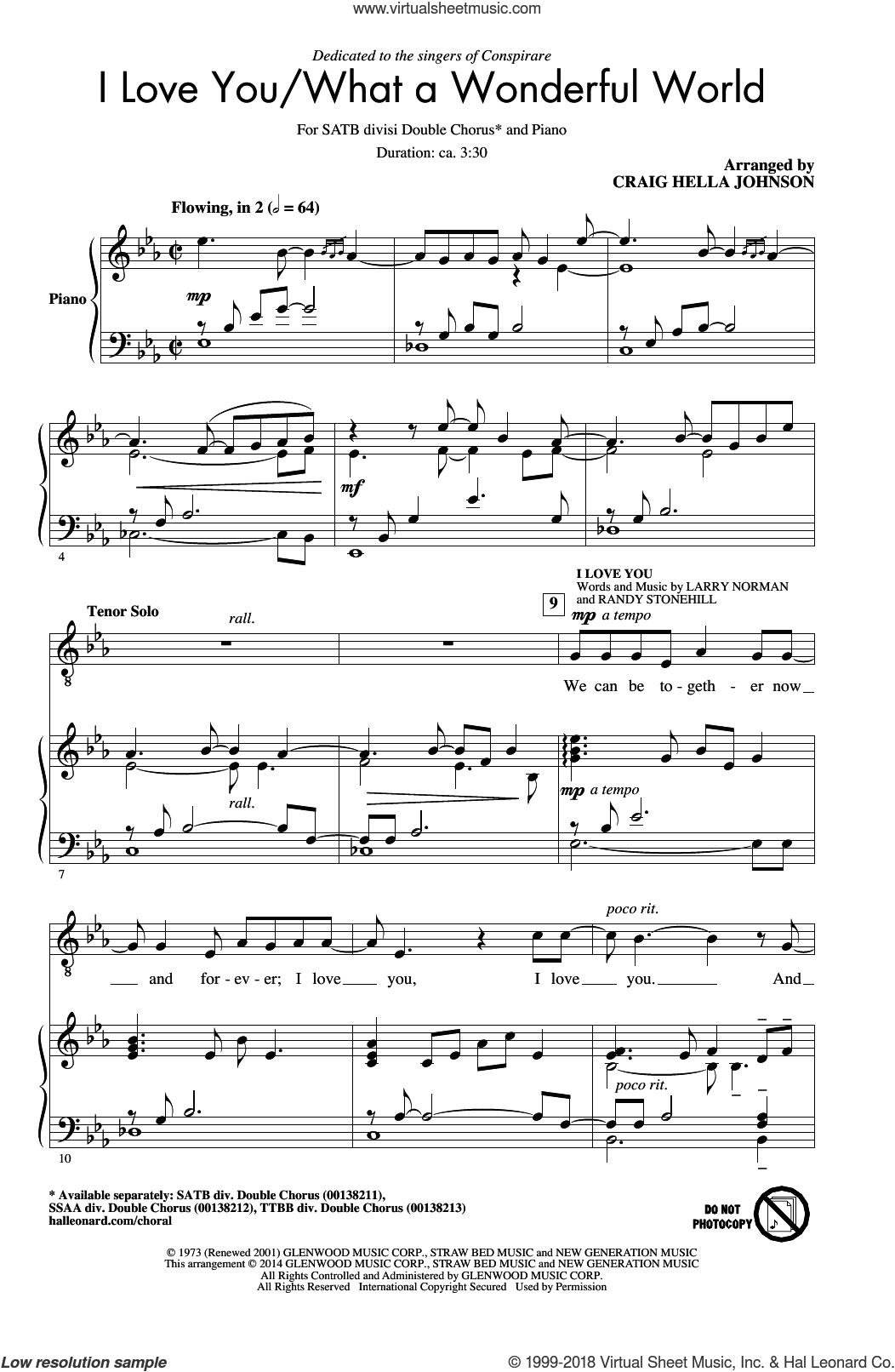 What A Wonderful World Chords Norman I Love Youwhat A Wonderful World Sheet Music For Choir Satb Soprano Alto Tenor Bass