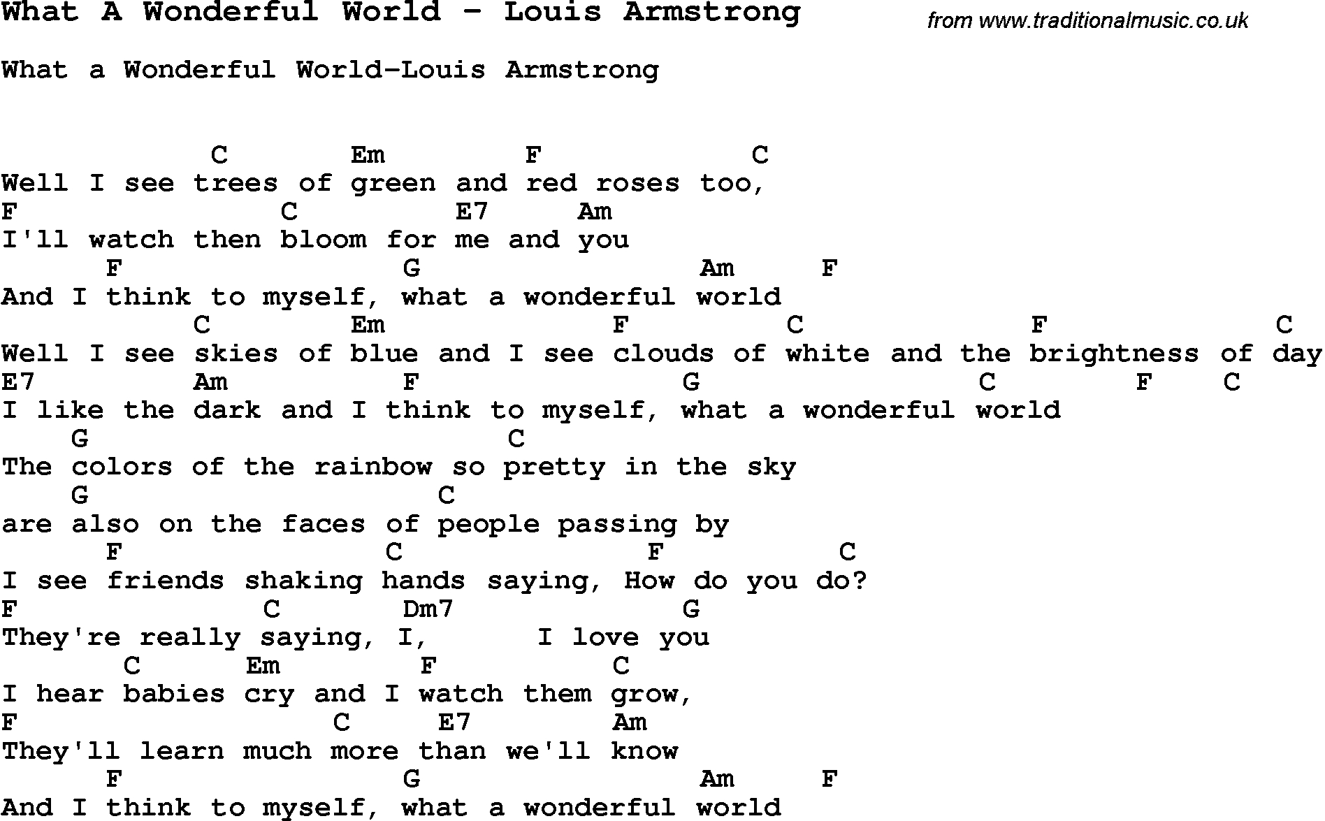 What A Wonderful World Chords Song What A Wonderful World Louis Armstrong Song Lyric For Vocal