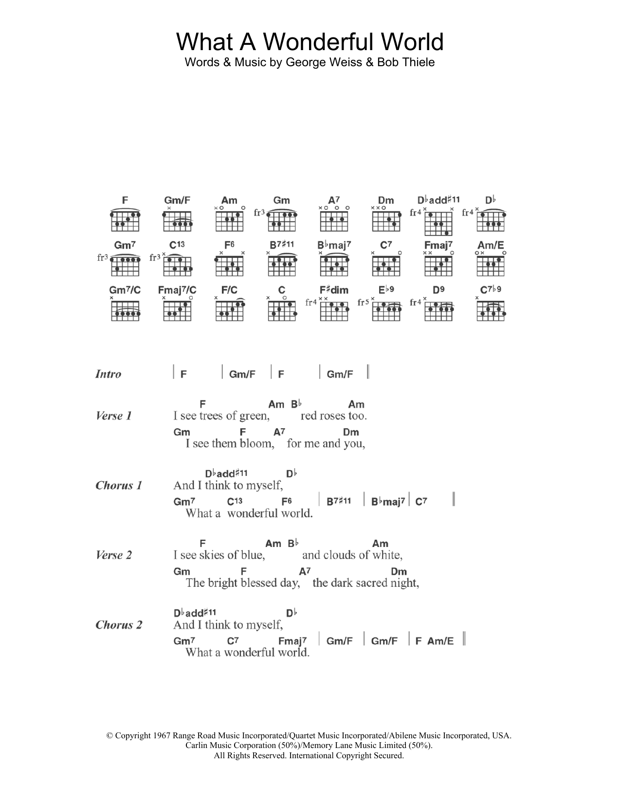 What A Wonderful World Chords What A Wonderful World Louis Armstrong Guitar Chordslyrics