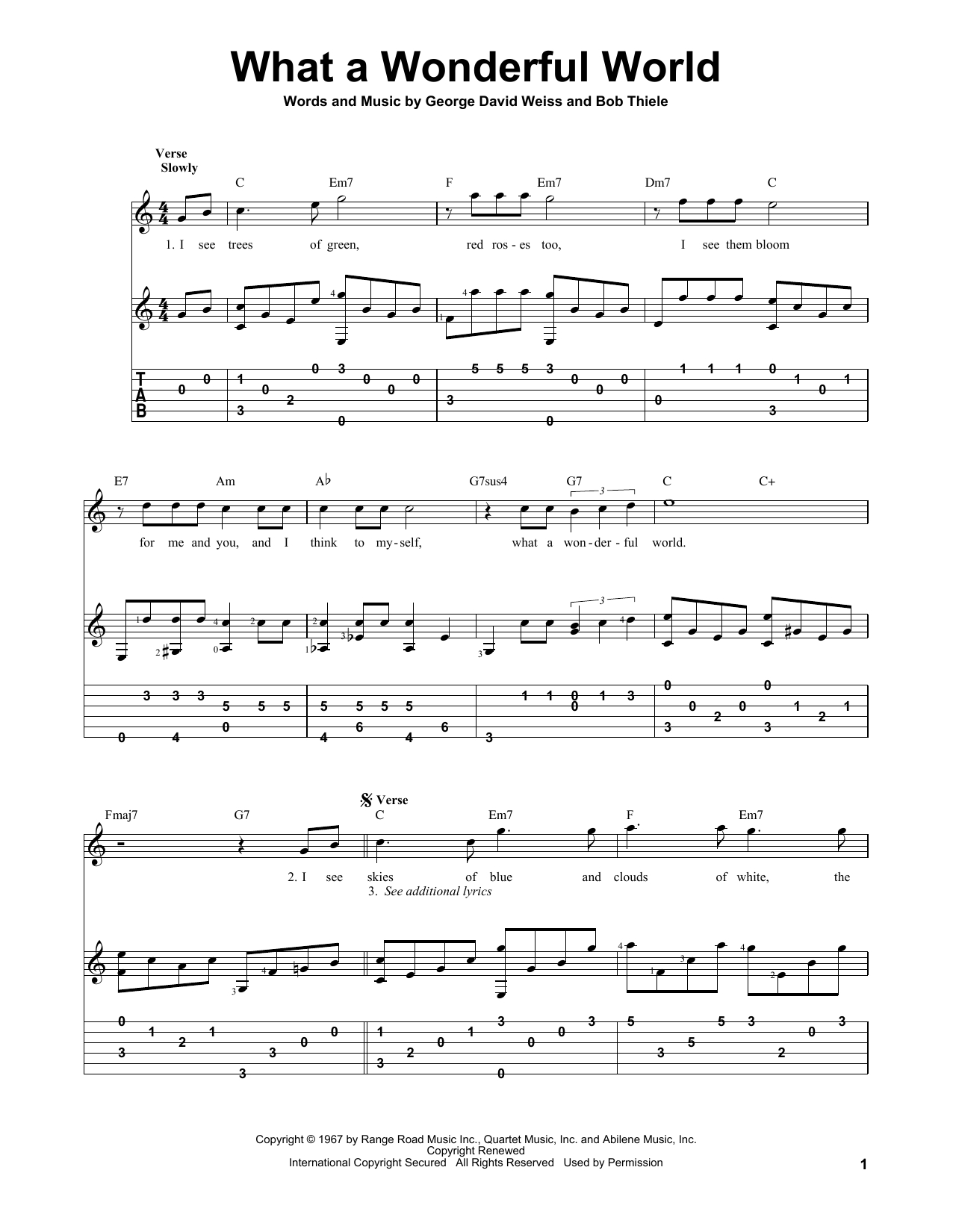 What A Wonderful World Chords What A Wonderful World Louis Armstrong Solo Guitar Guitar