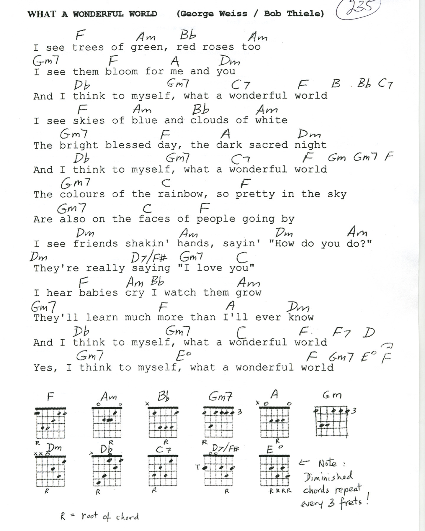 What A Wonderful World Chords What A Wonderful World Lyrics And Chords Mightyturk