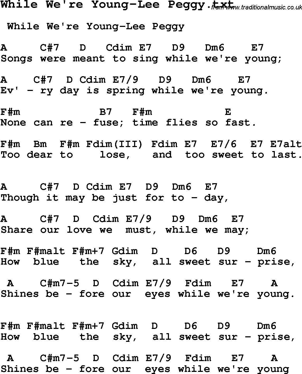 When We Were Young Chords Jazz Song While Were Young Lee Peggy With Chords Tabs And Lyrics