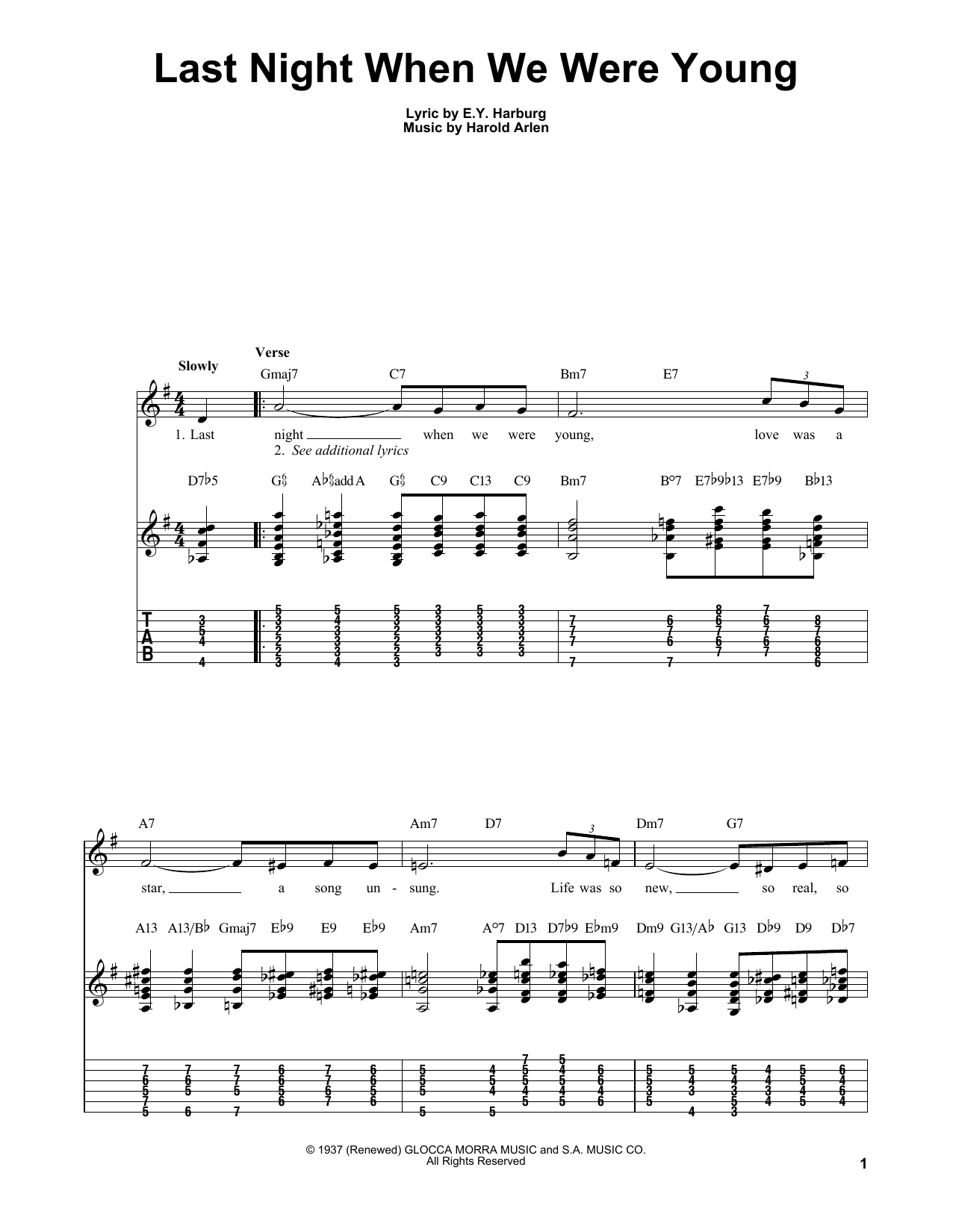 When We Were Young Chords Kenny Burrell Last Night When We Were Young Sheet Music Notes Chords Download Printable Easy Guitar Tab Sku 28915