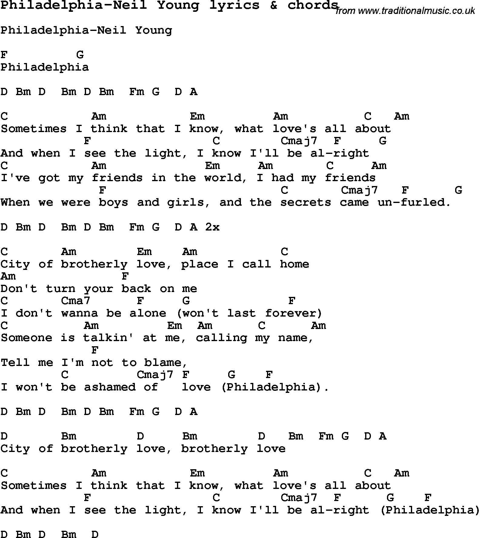 When We Were Young Chords Love Song Lyrics Forphiladelphia Neil Young With Chords