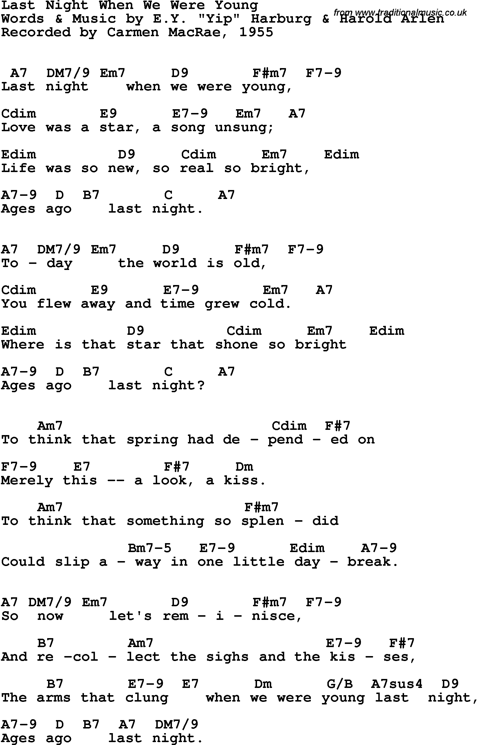 When We Were Young Chords Song Lyrics With Guitar Chords For Last Night When We Were Young