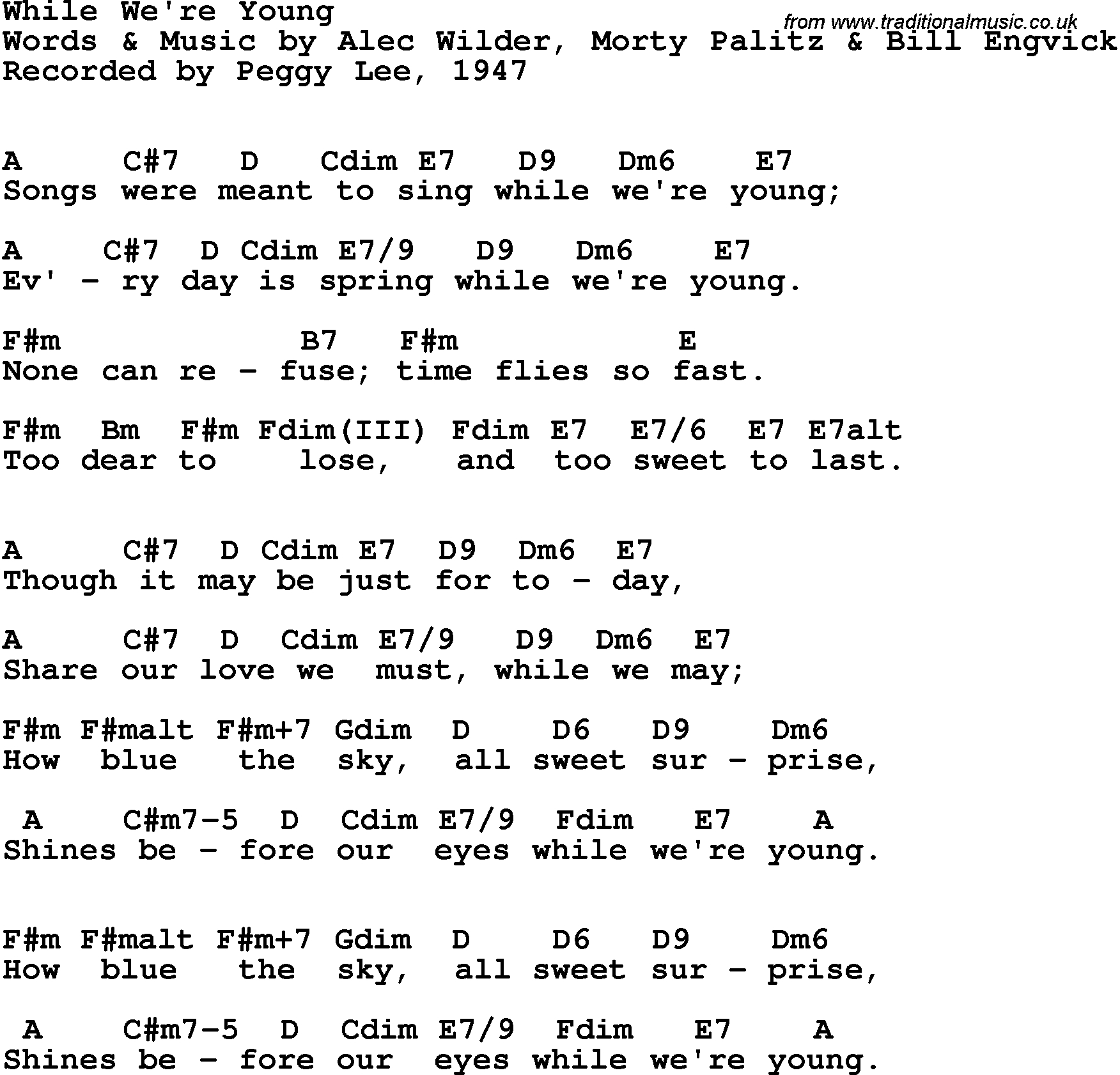 When We Were Young Chords Song Lyrics With Guitar Chords For While Were Young Peggy Lee 1947