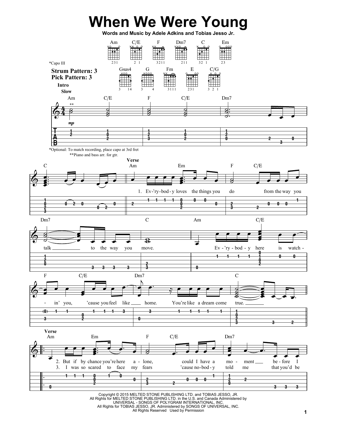 When We Were Young Chords When We Were Young Adele Easy Guitar Tab Guitar Instructor
