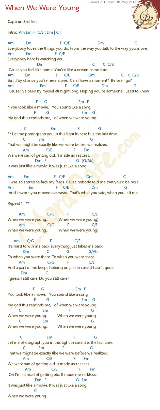 When We Were Young Chords When We Were Young Download Chordcafe