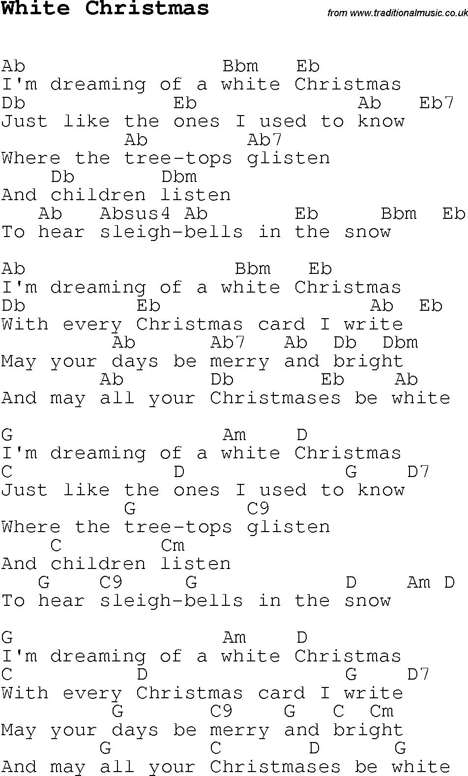 White Christmas Chords Christmas Carolsong Lyrics With Chords For White Christmas