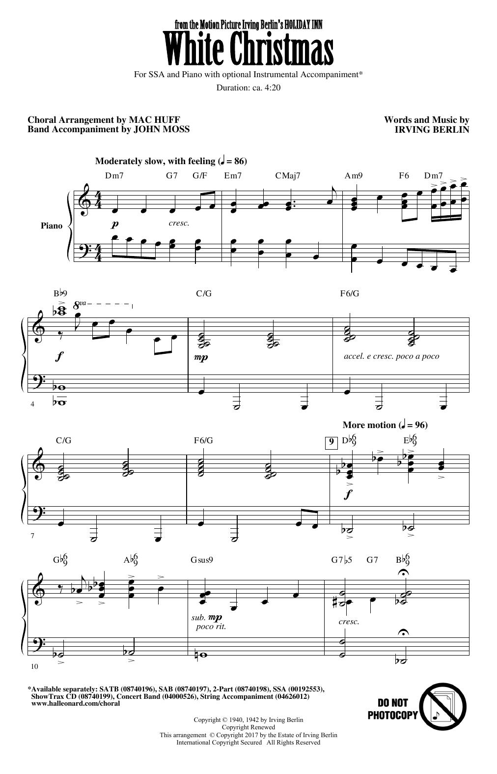 White Christmas Chords Irving Berlin White Christmas Arr Mac Huff Sheet Music Notes Chords Download Printable Ssa Choir Sku 177289